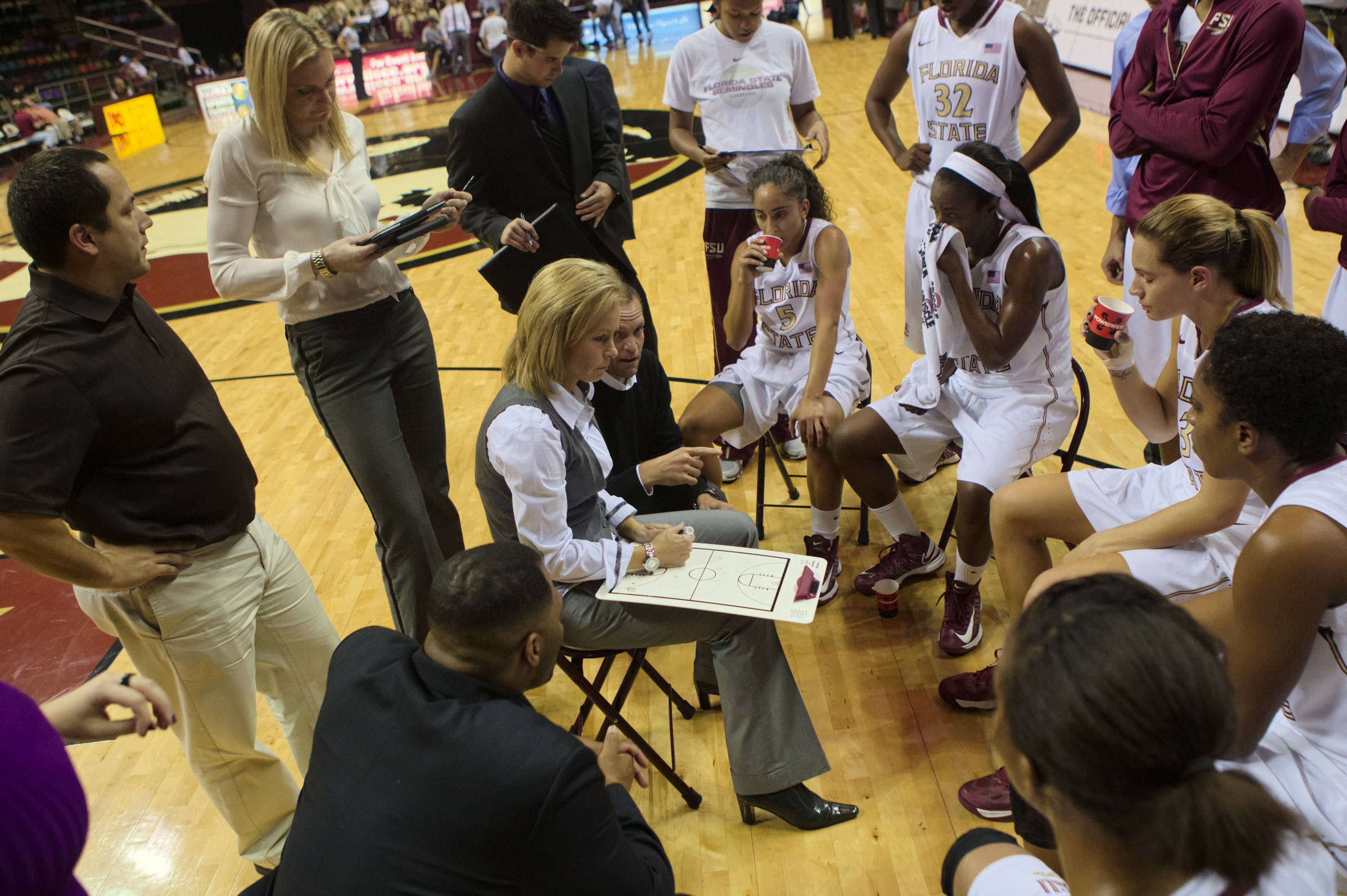 Team timeout, FSU vs Samford, 11/11/12. (Photo by Steve Musco)