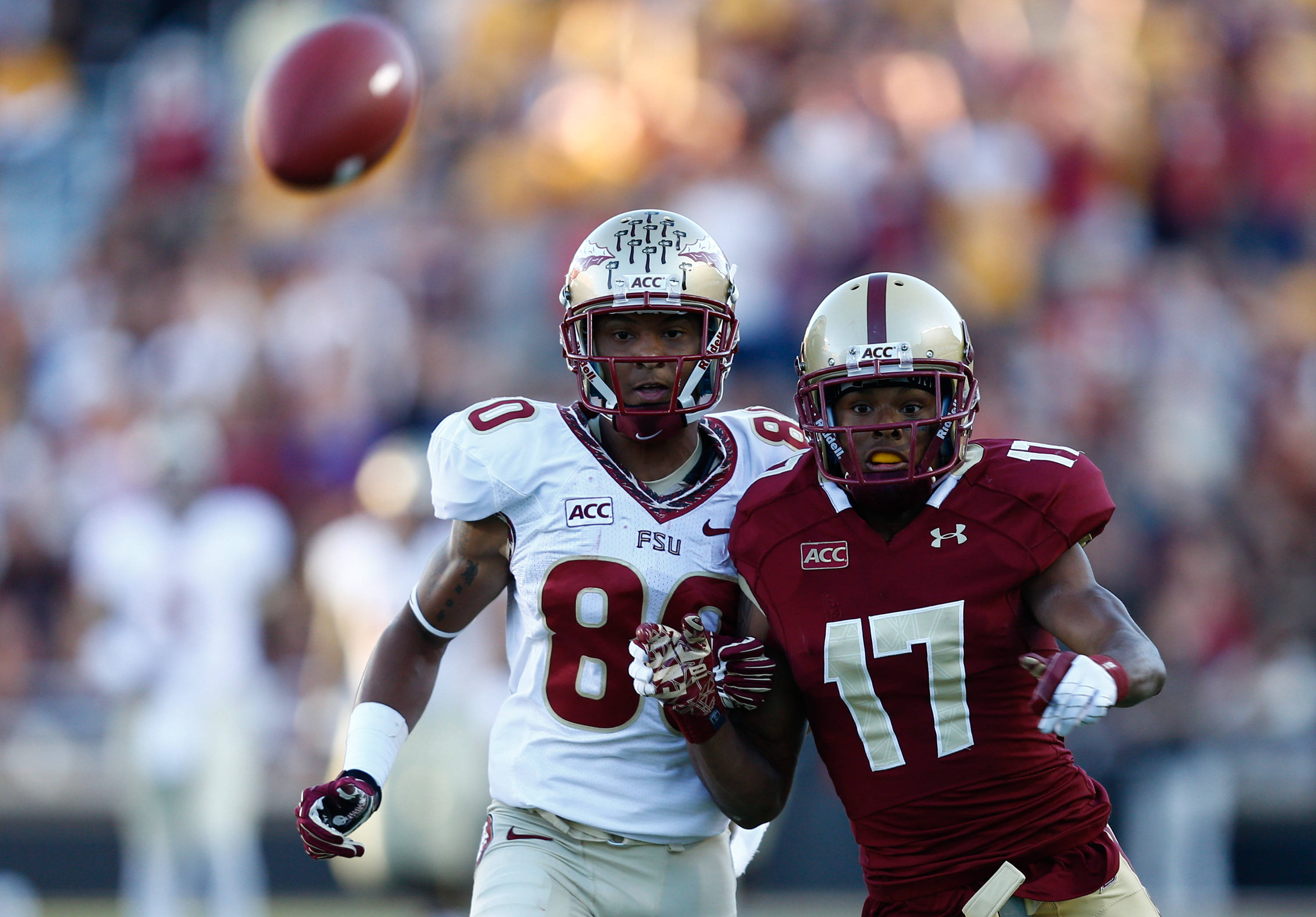 Boston College Eagles defensive back Bryce Jones (17) defends against Florida State Seminoles wide receiver Rashad Greene (80). Mandatory Credit: Mark L. Baer-USA TODAY Sports