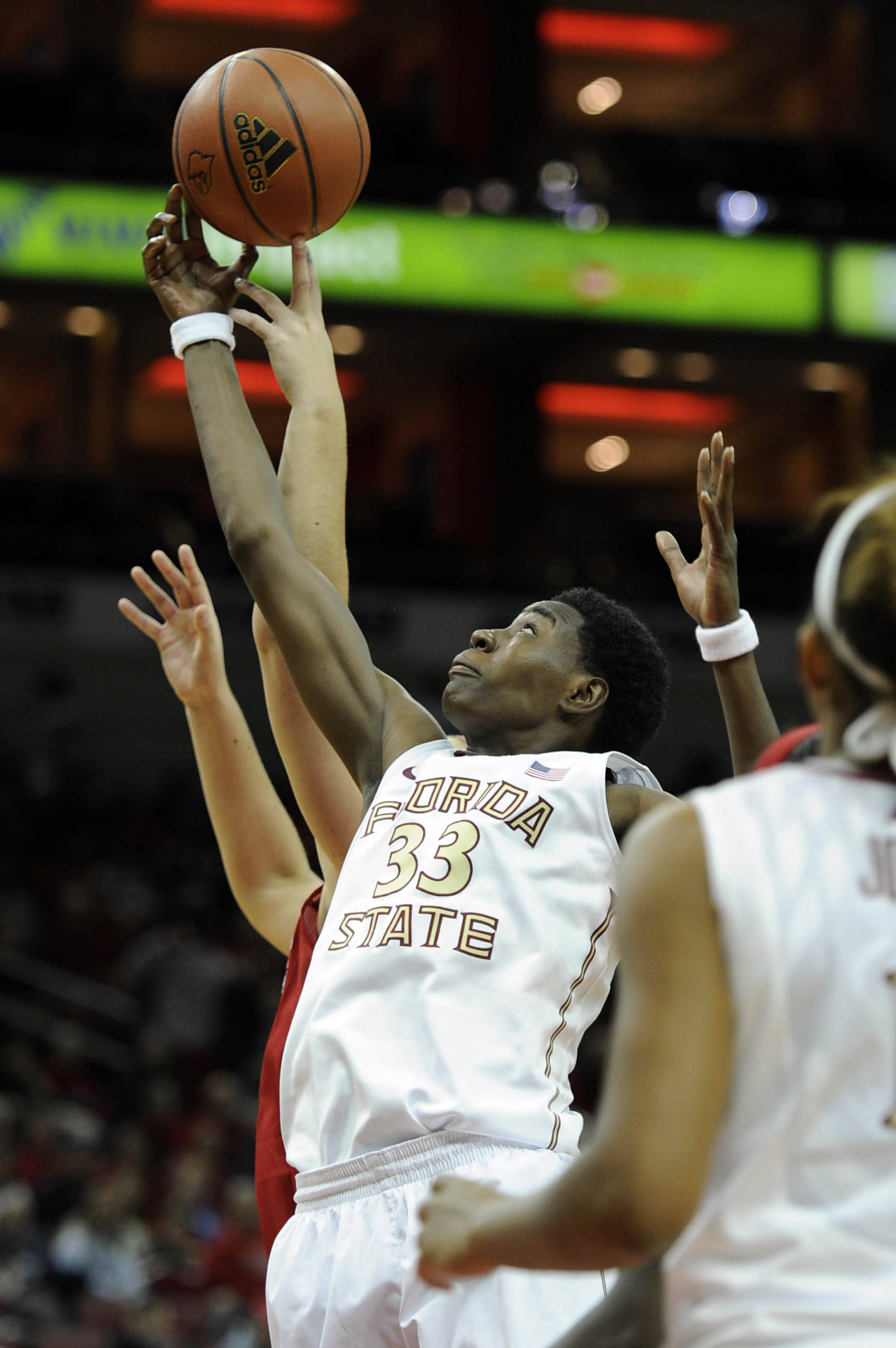 Nov 24, 2013; Louisville, KY, USA; Florida State Seminoles forward Natasha Howard (33) battles for a rebound during the second half against Louisville Cardinals at KFC YUM! Center. Louisville defeated Florida State 69-59.  Mandatory Credit: Jamie Rhodes-USA TODAY Sports