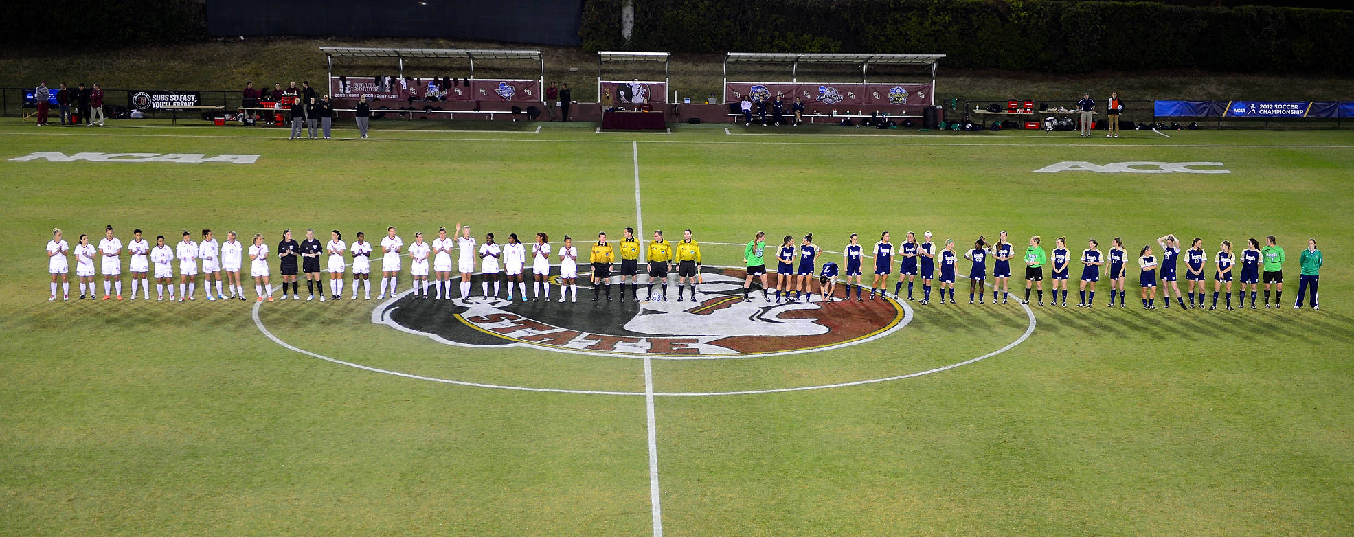 Florida State and Notre Dame introduced at the beginning of the game Friday night in the NCAA Tournament quarterfinals.
