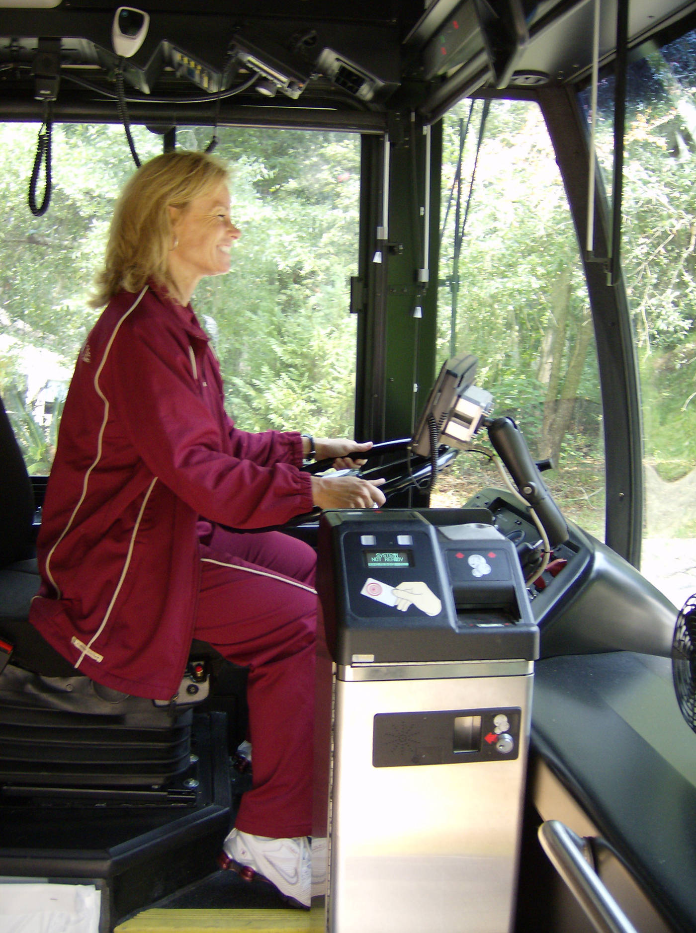 Coach Sue driving the bus
