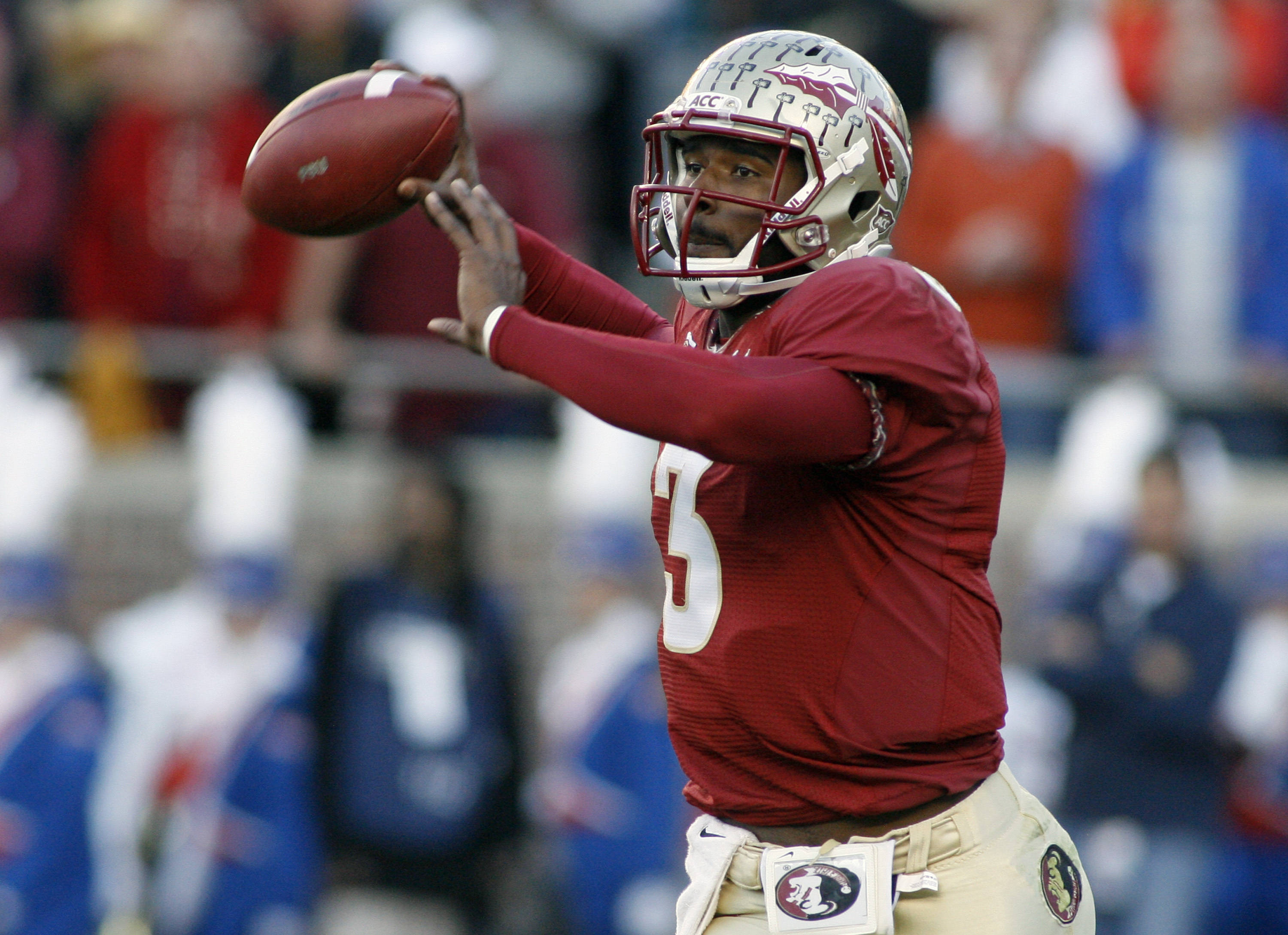 Florida State quarterback EJ Manuel throws a pass. (AP Photo/Phil Sears)