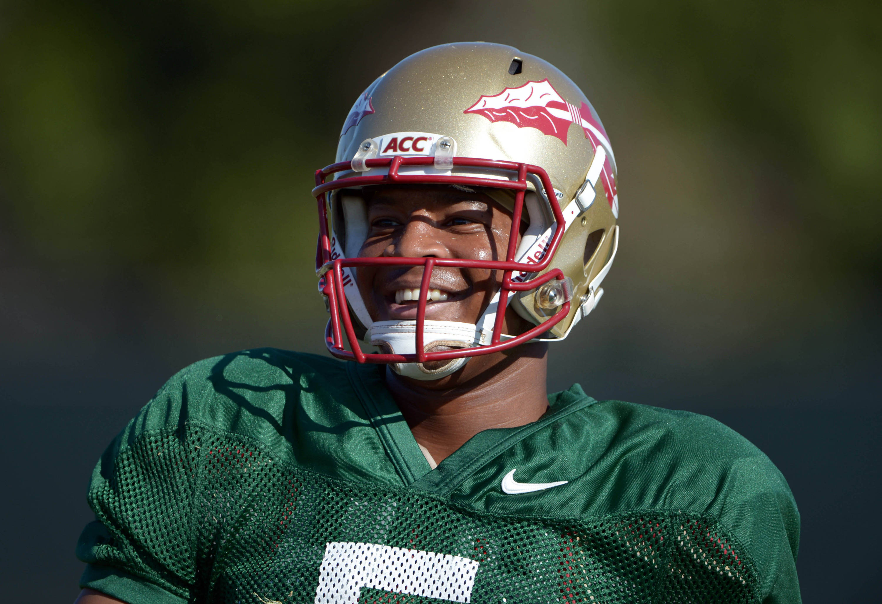 Florida State Seminoles quarterback Jameis Winston (5) at practice for the 2014 BCS National Championship against the Auburn Tigers. Mandatory Credit: Kirby Lee-USA TODAY Sports