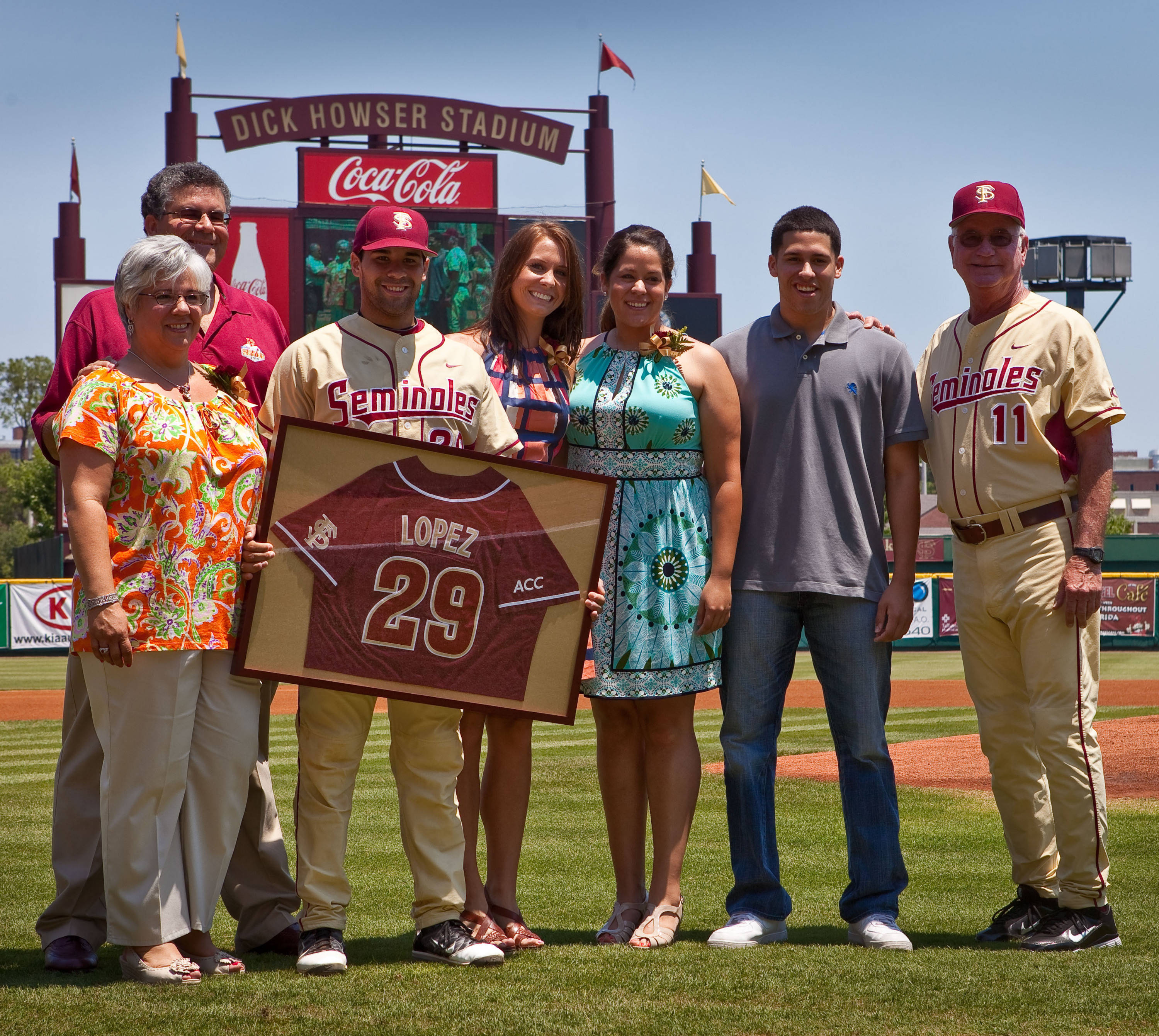 Florida State senior catcher Rafael Lopez and his family.