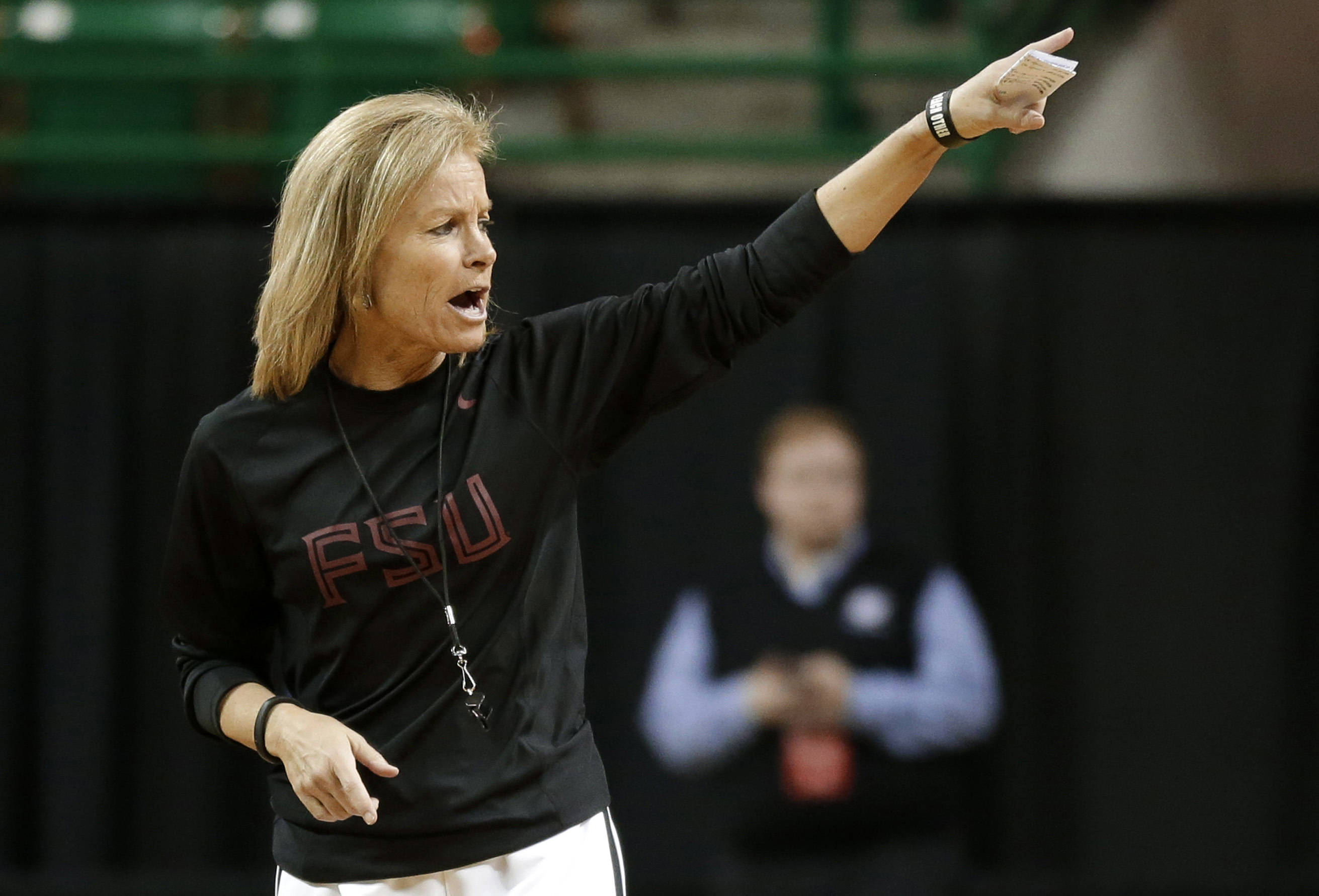 Florida State head coach Sue Semrau instructs her team during practice for a first-round game in the women's NCAA college basketball tournament Saturday, March 23, 2013, in Waco, Texas. FSU will play Princeton on Sunday. (AP Photo/Tony Gutierrez)