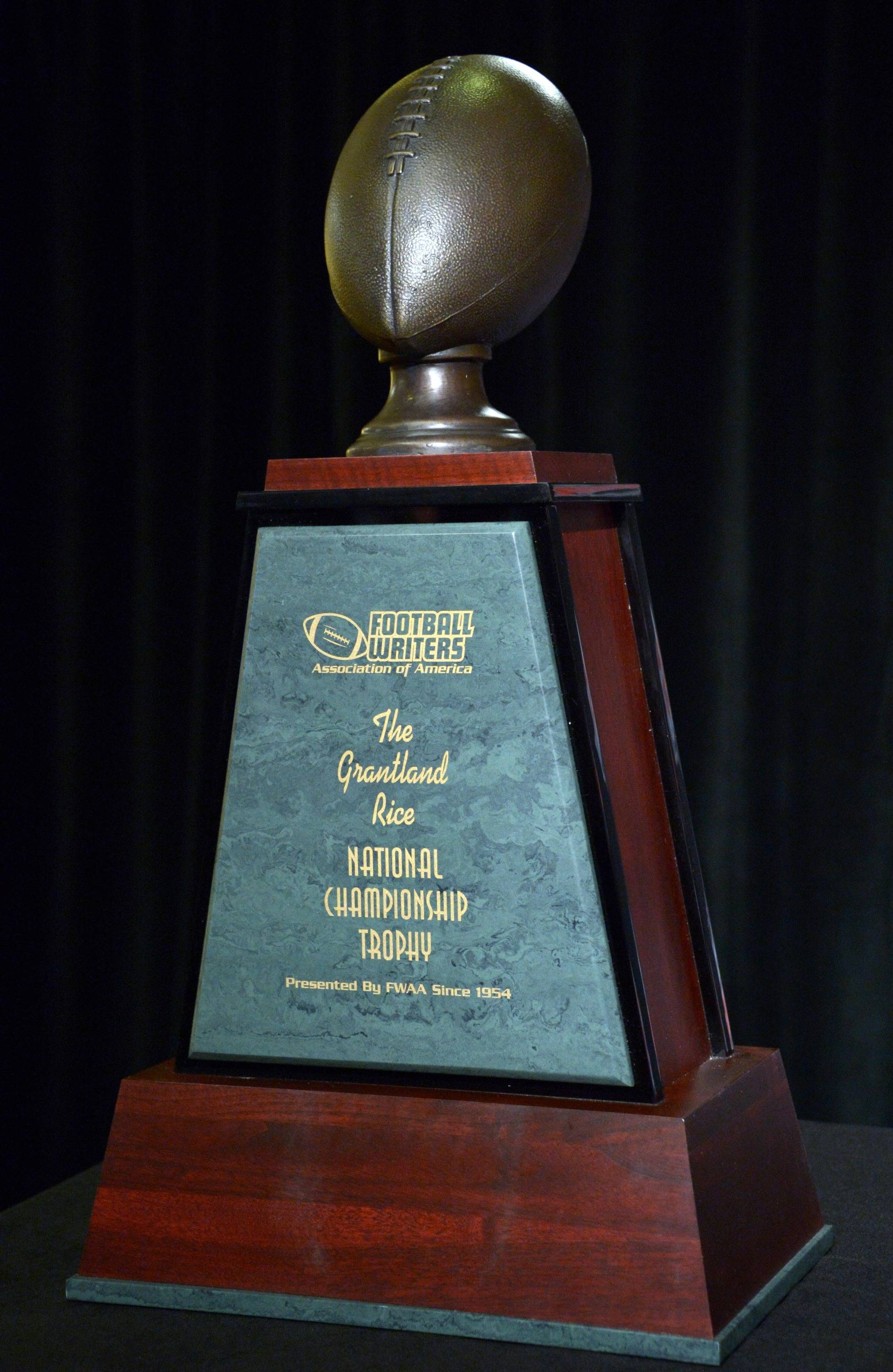 General view of the Grantland Rice trophy presented by the Football Writers Association of America at 2014 BCS National Championship press conference at Newport Beach Marriott. Mandatory Credit: Kirby Lee-USA TODAY Sports