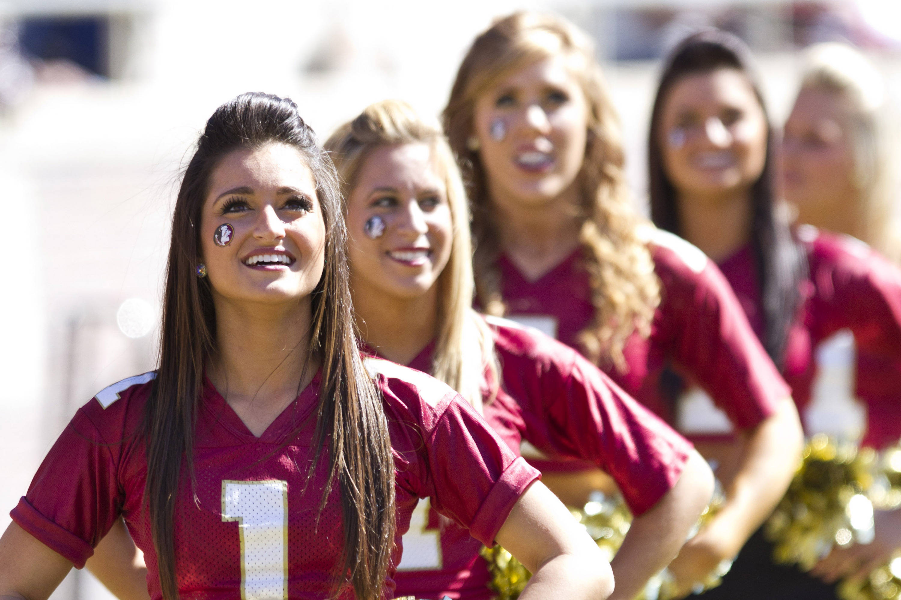 FSU cheerleaders pump up fans during the football game against NC State on October 29, 2011.