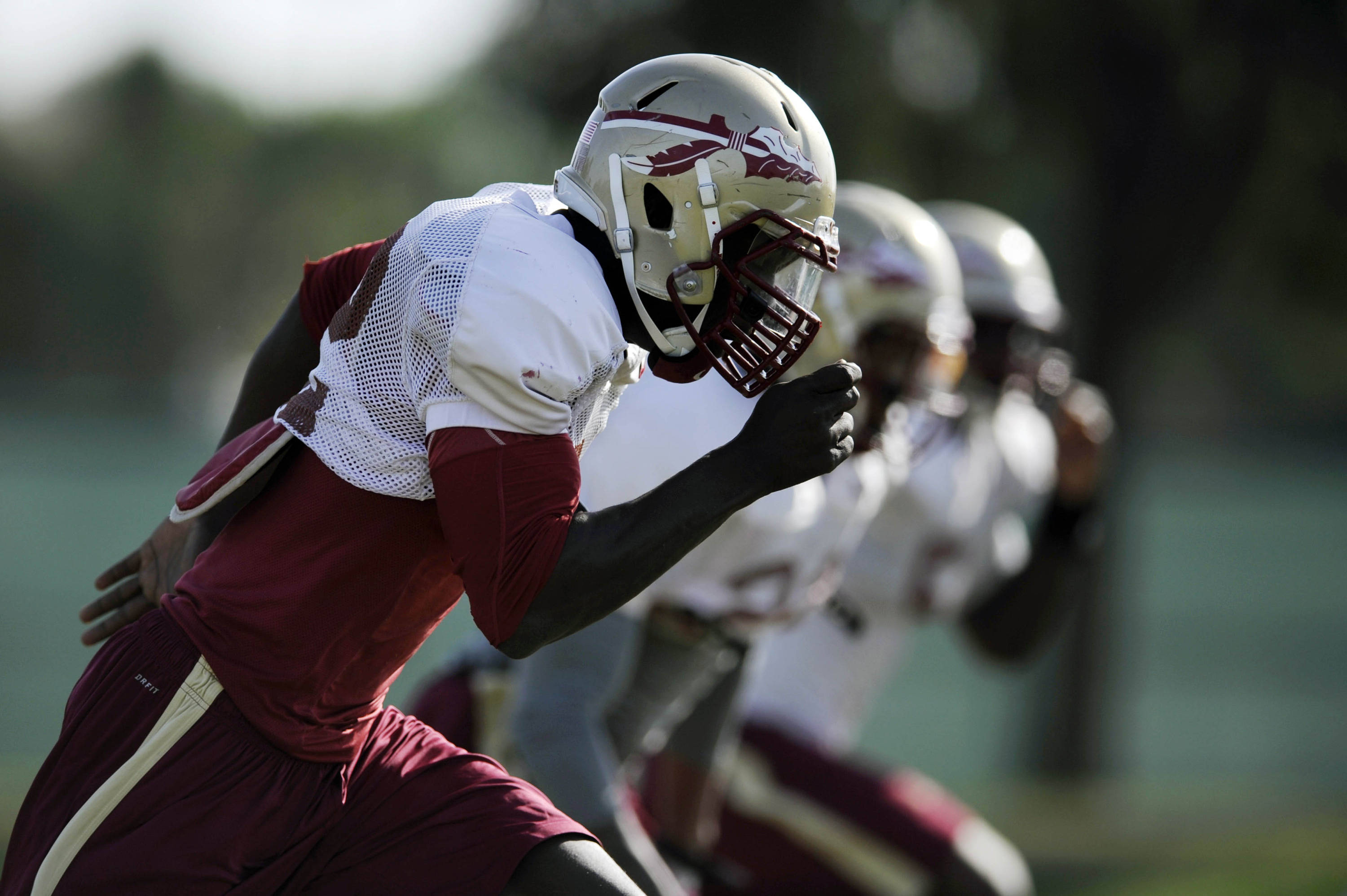 Jan 3, 2014; Orange, CA, USA; Florida State Seminoles linebacker Telvin Smith (22) during practice for the BCS National Championship football game against the Auburn Tigers at Orange Coast College. Mandatory Credit: Kelvin Kuo-USA TODAY Sports