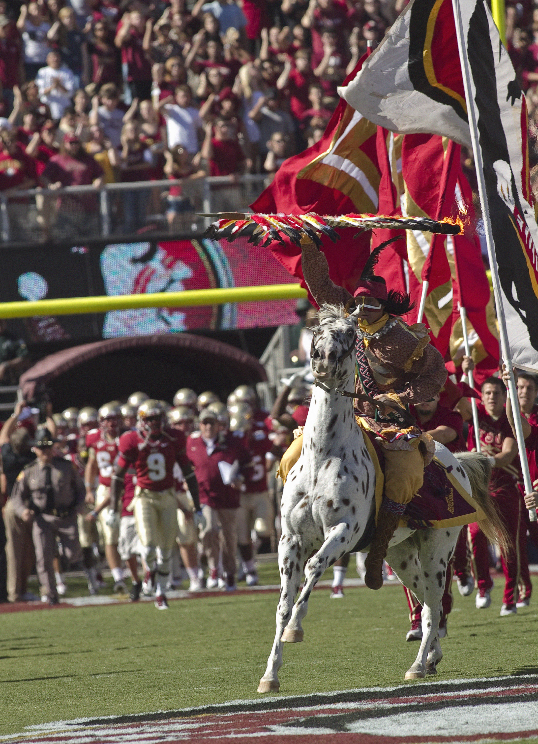Chief Osceola and Renagade leading FSU out. FSU vs Maryland 10/22/1111