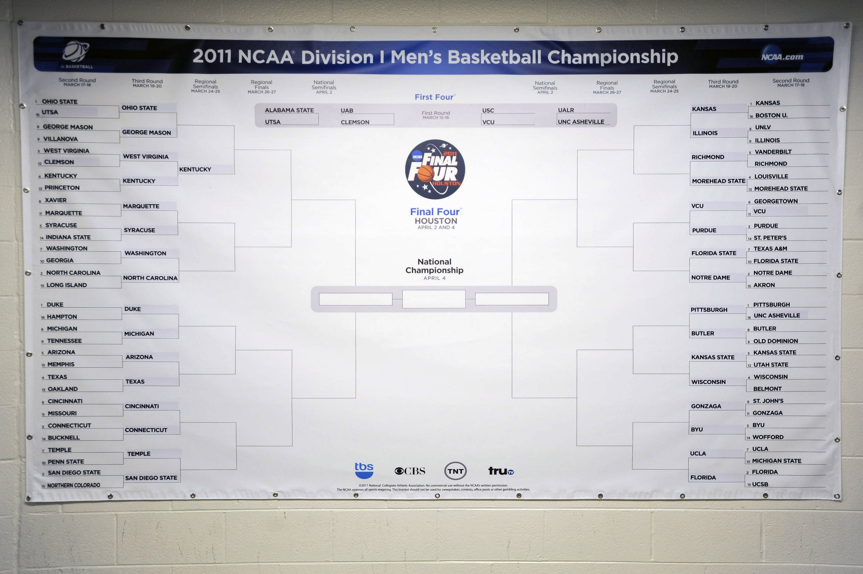 The NCAA Tournament bracket after the second round was completed.