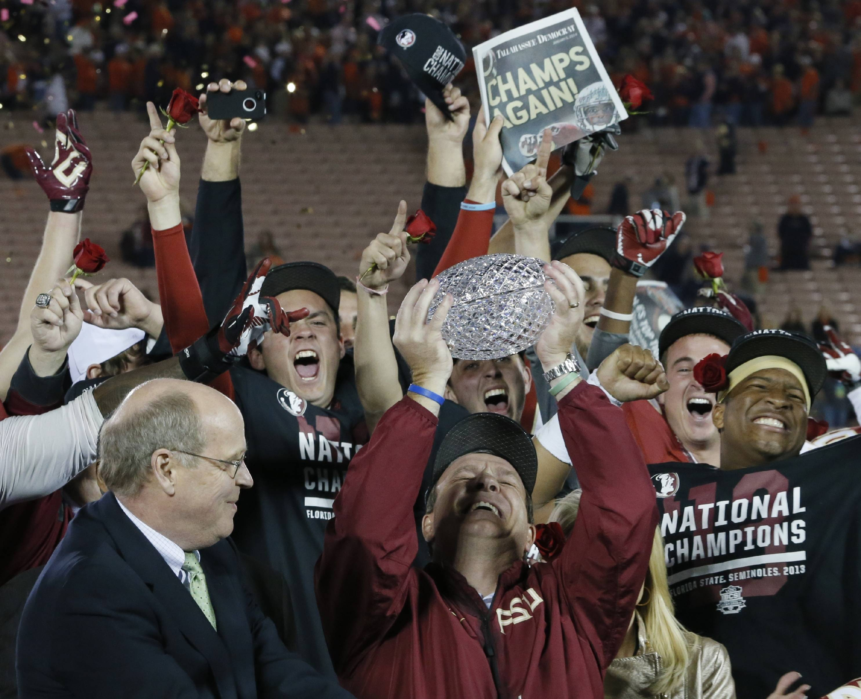 Jimbo Fisher hoists the crystal ball