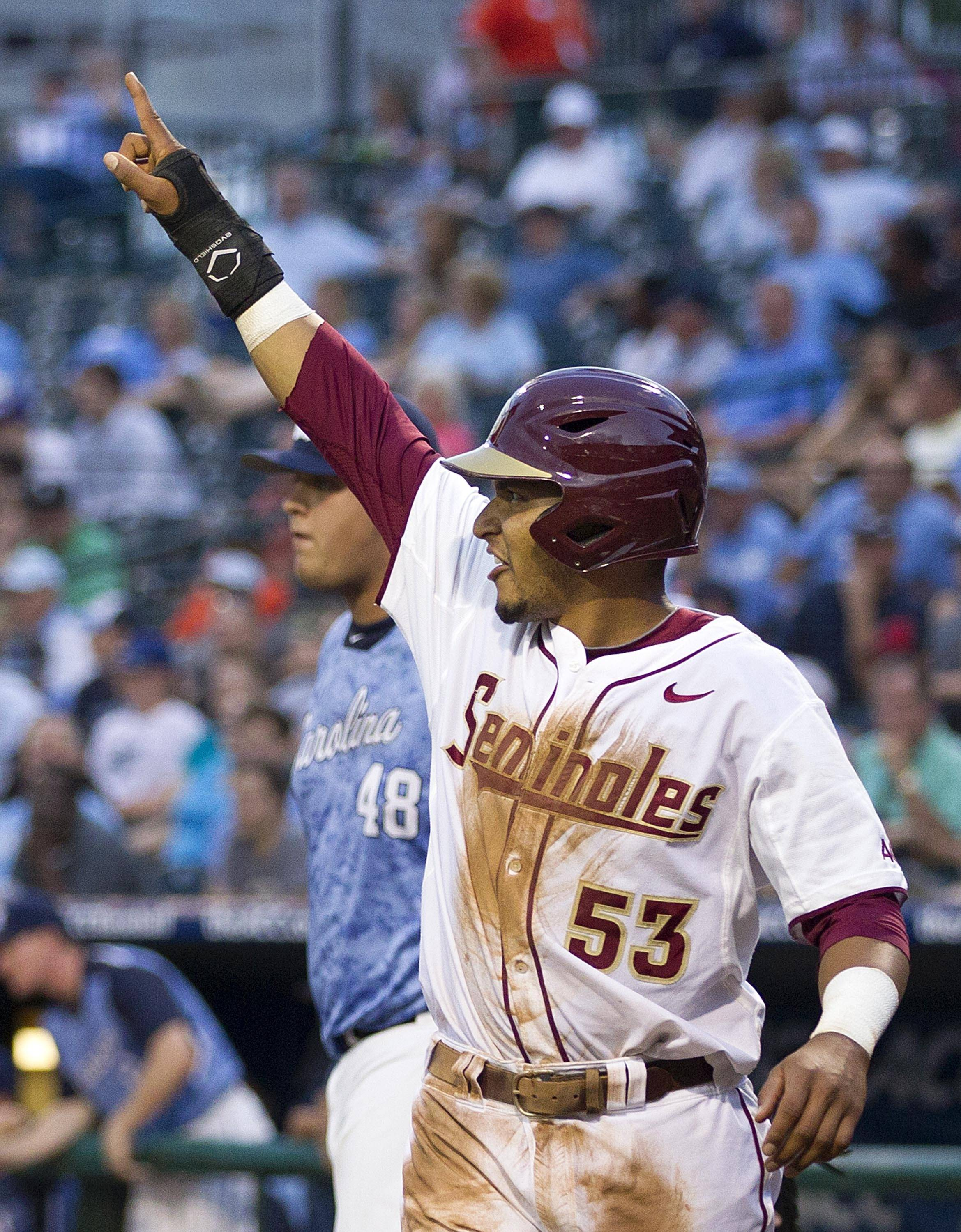 Jose Brizuela points to a teammate after scoring against UNC.