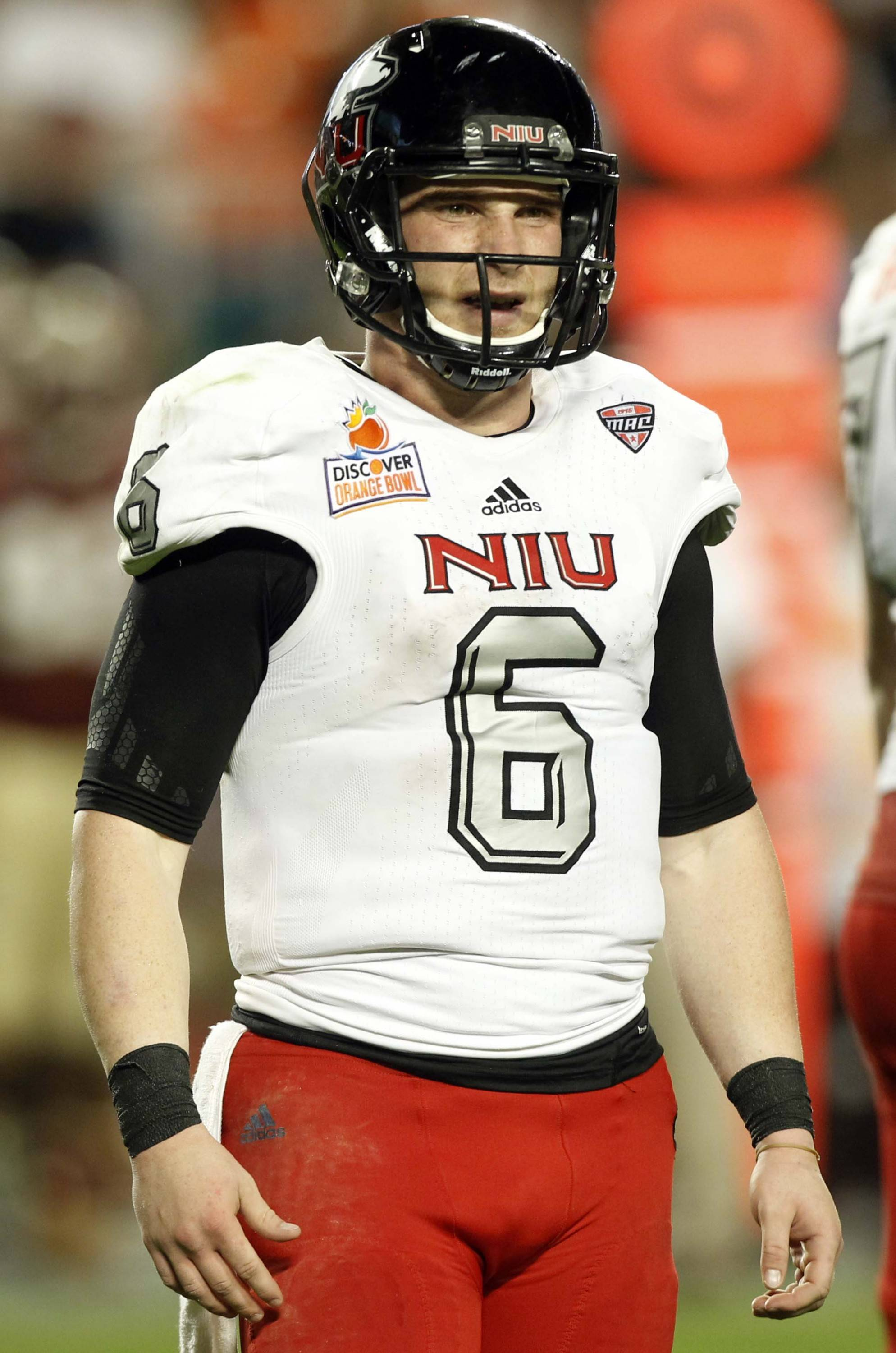 Northern Illinois quarterback Jordan Lynch (6) reacts after a sack during the second half of the Orange Bowl NCAA college football game against Florida State, early Wednesday, Jan. 2, 2013, in Miami.  Florida State defeated Northern Illinois 31-10.(AP Photo/Alan Diaz)