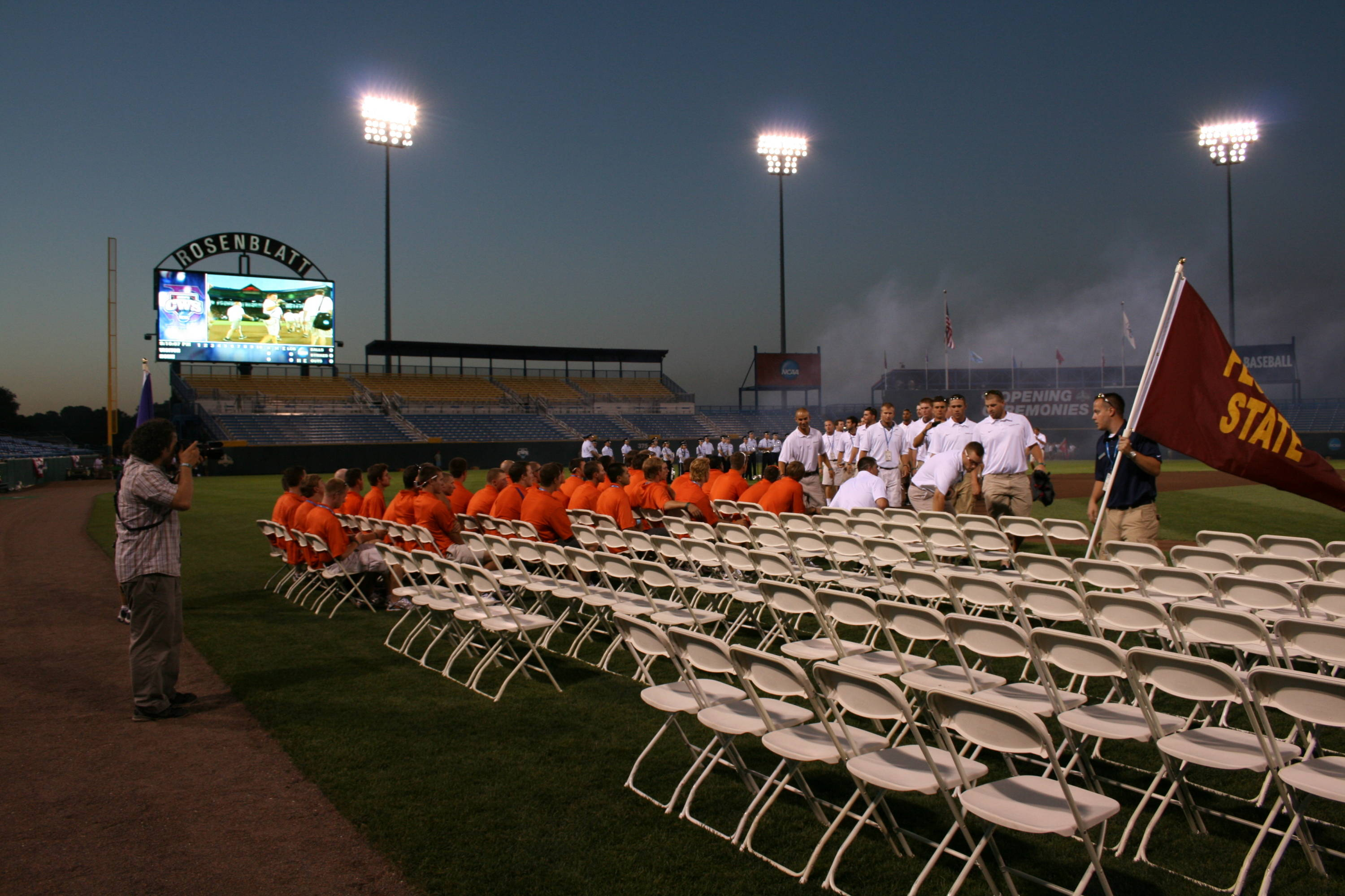 The Seminoles make their entrance into Rosenblatt Stadium for the opening ceremonies.
