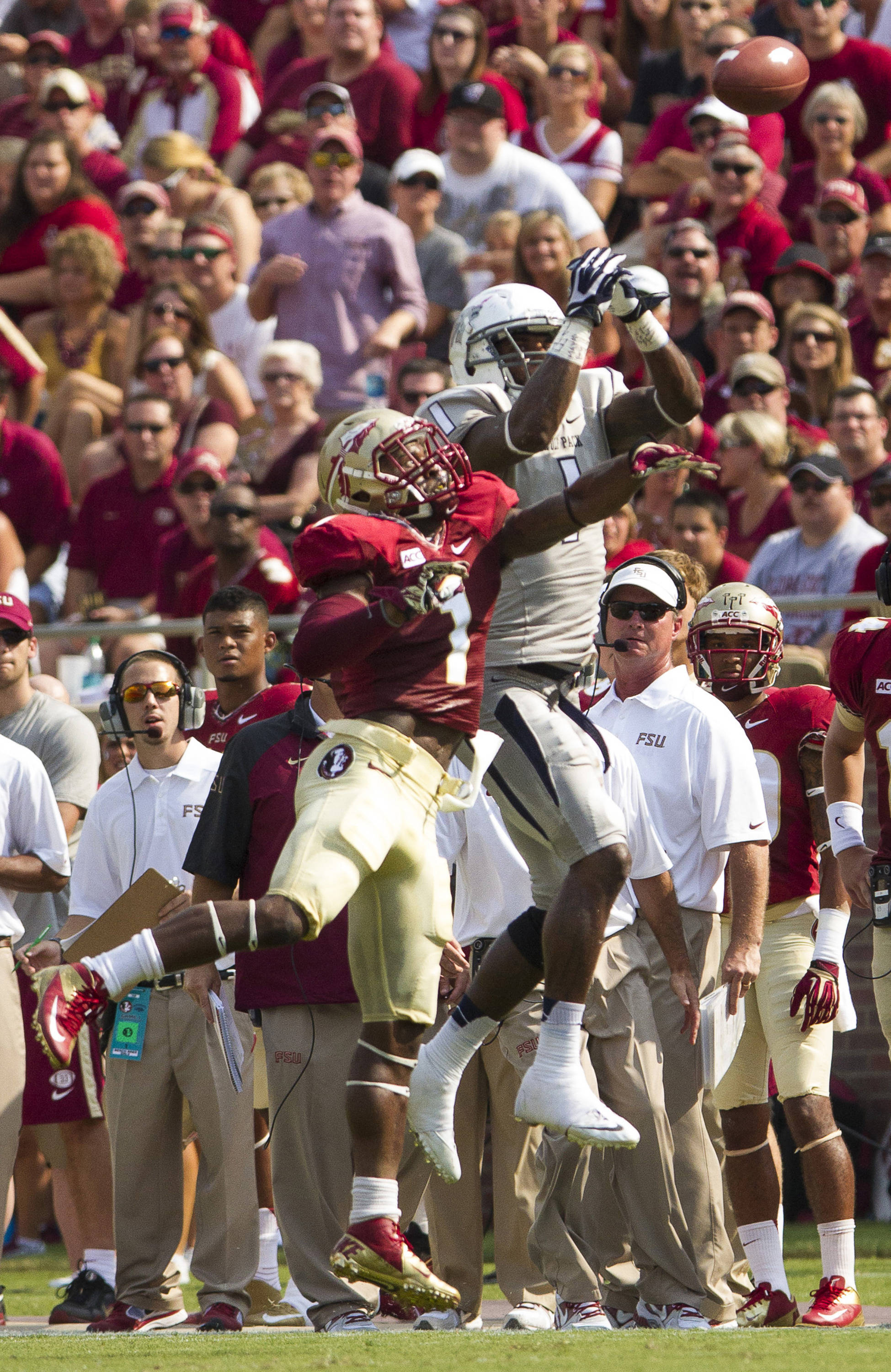 Tyler Hunter (1) attempts to break up a pass during FSU's 62-7 win over Nevada on Saturday, Sept 14, 2013 in Tallahassee, Fla.