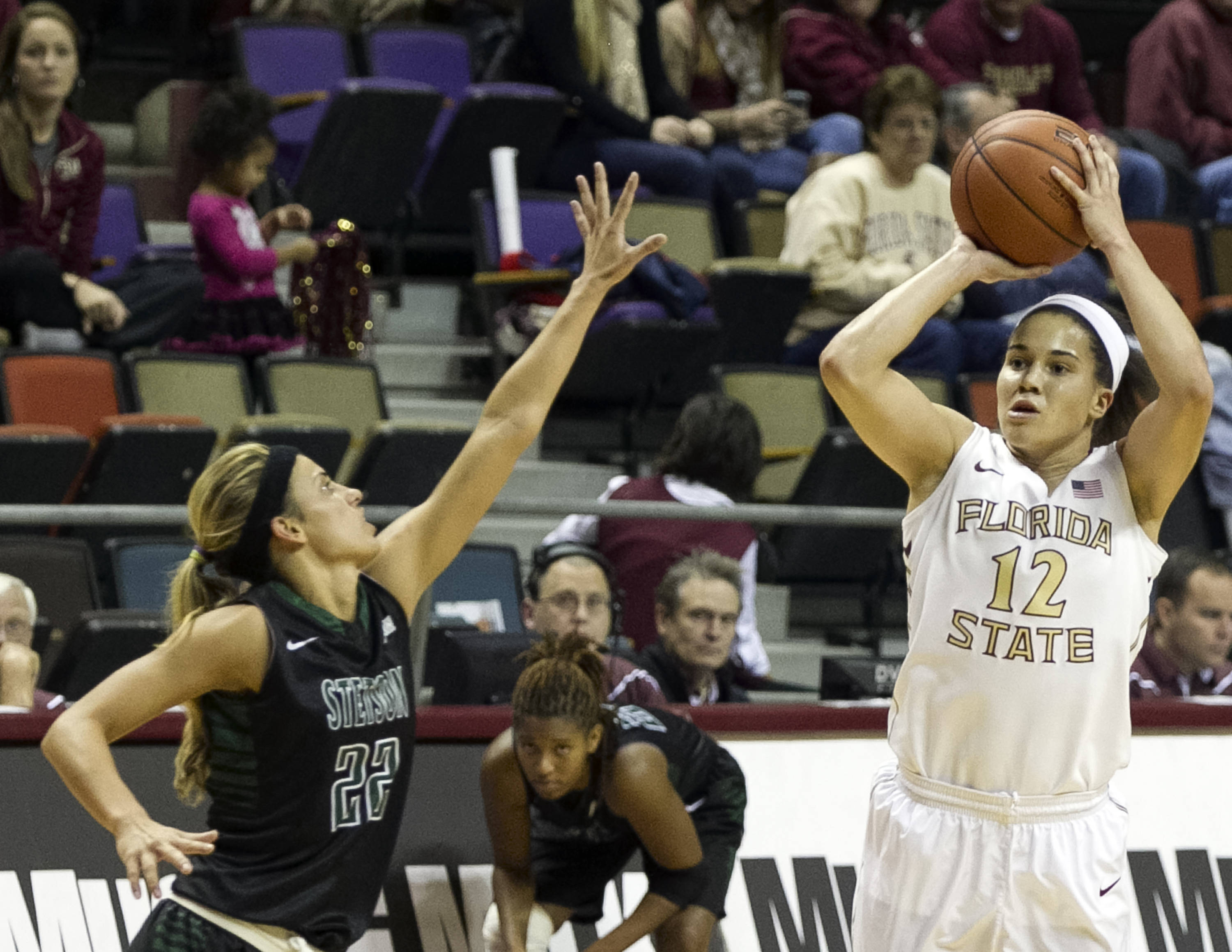 Brittany Brown (12), FSU vs Stetson, 11-29-13,  (Photo by Steve Musco)
