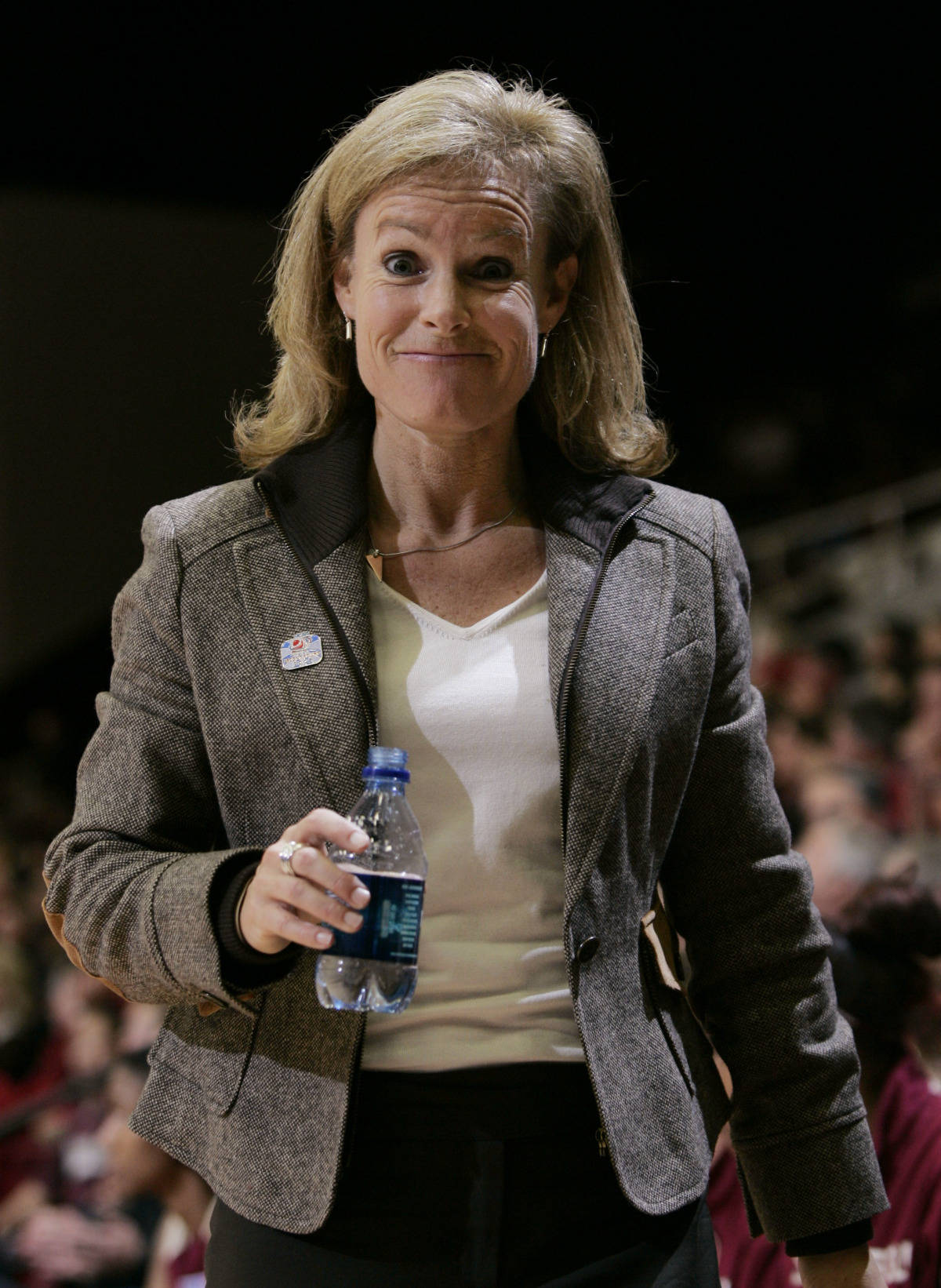 Florida State coach Sue Semrau smiles late in the second half against Stanford during their second-round game in the NCAA women's basketball tournament in Stanford, Calif., Monday, March 19, 2007. Florida State upset Stanford 68-61. (AP Photo/Paul Sakuma)