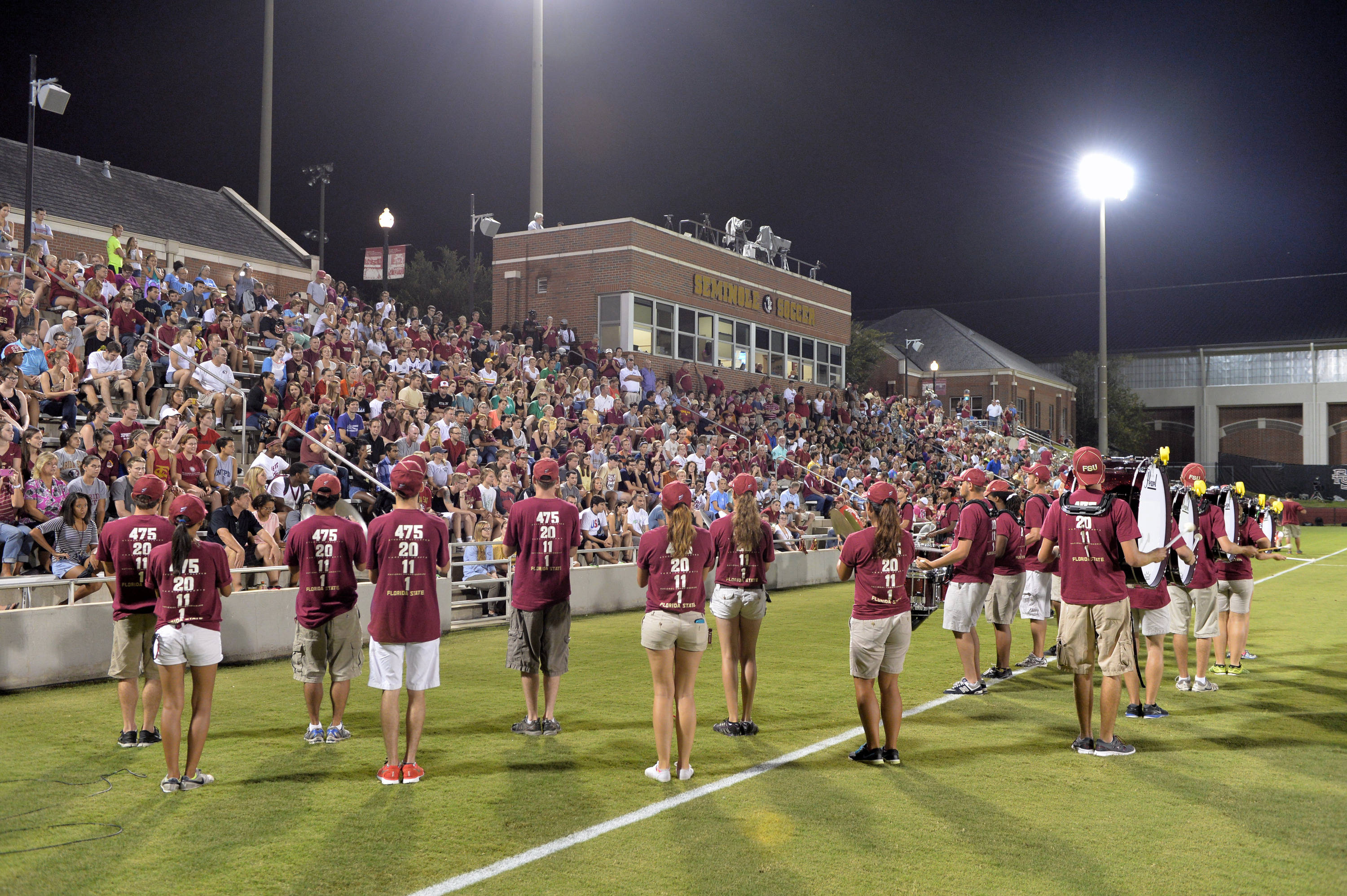A look at the Marching Chiefs' Drumline and the crowd inside the Seminole Soccer Complex at halftime.
