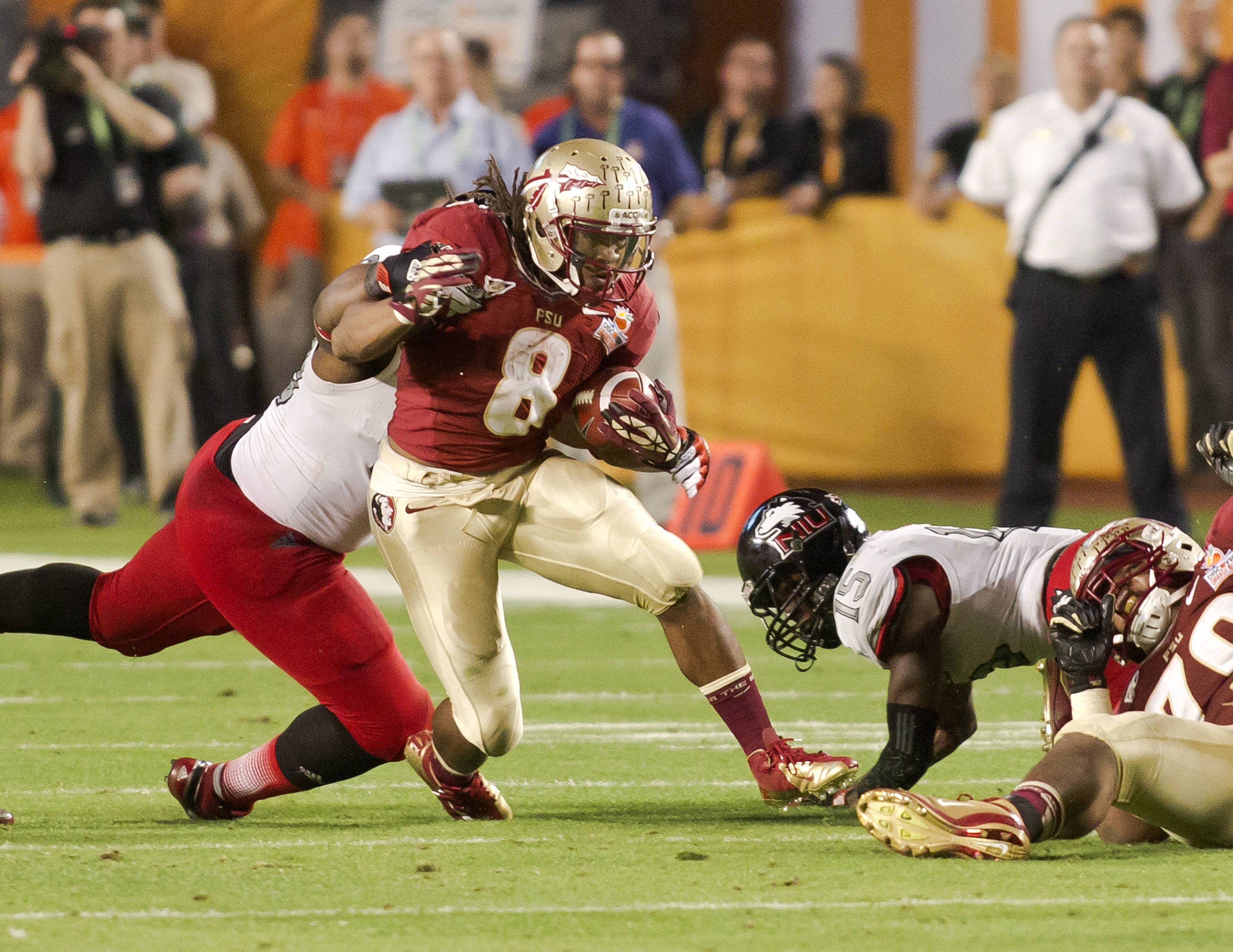 Devonta Freeman (8), FSU vs No. Illinois, 01/01/13. (Photo by Steve Musco)