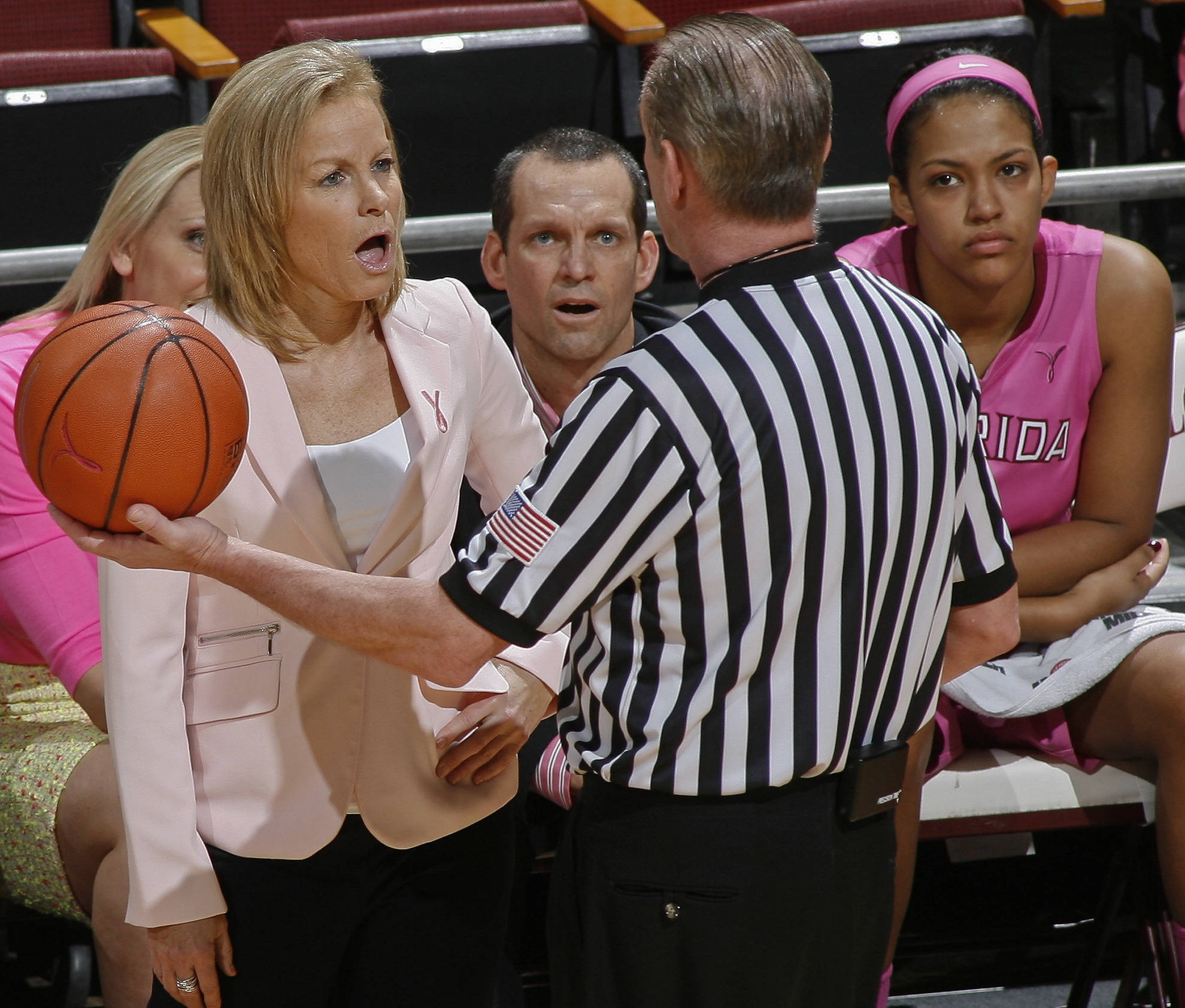 Florida State Seminoles head coach Sue Semrau reacts to a referee's call in the first half against the Boston College Eagles. Mandatory Credit: Phil Sears-USA TODAY Sports