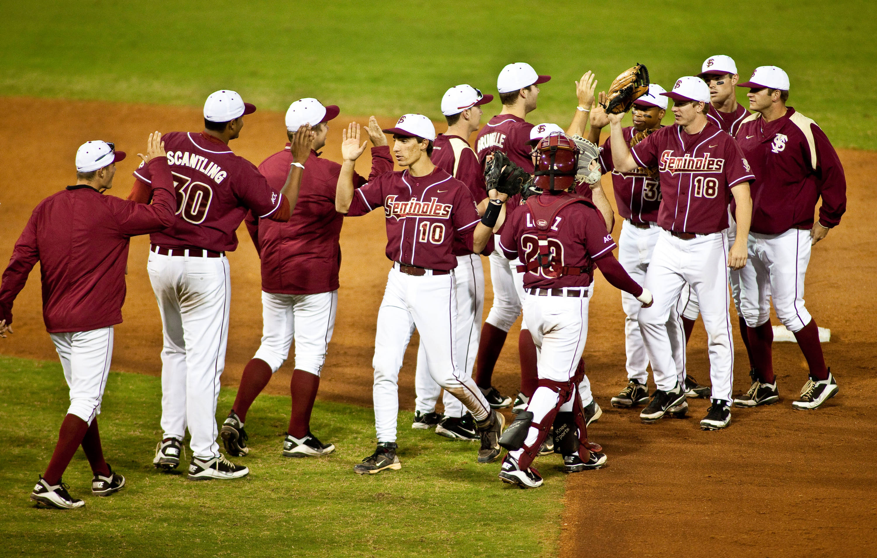 Seminoles celebrate their victory over the Gators