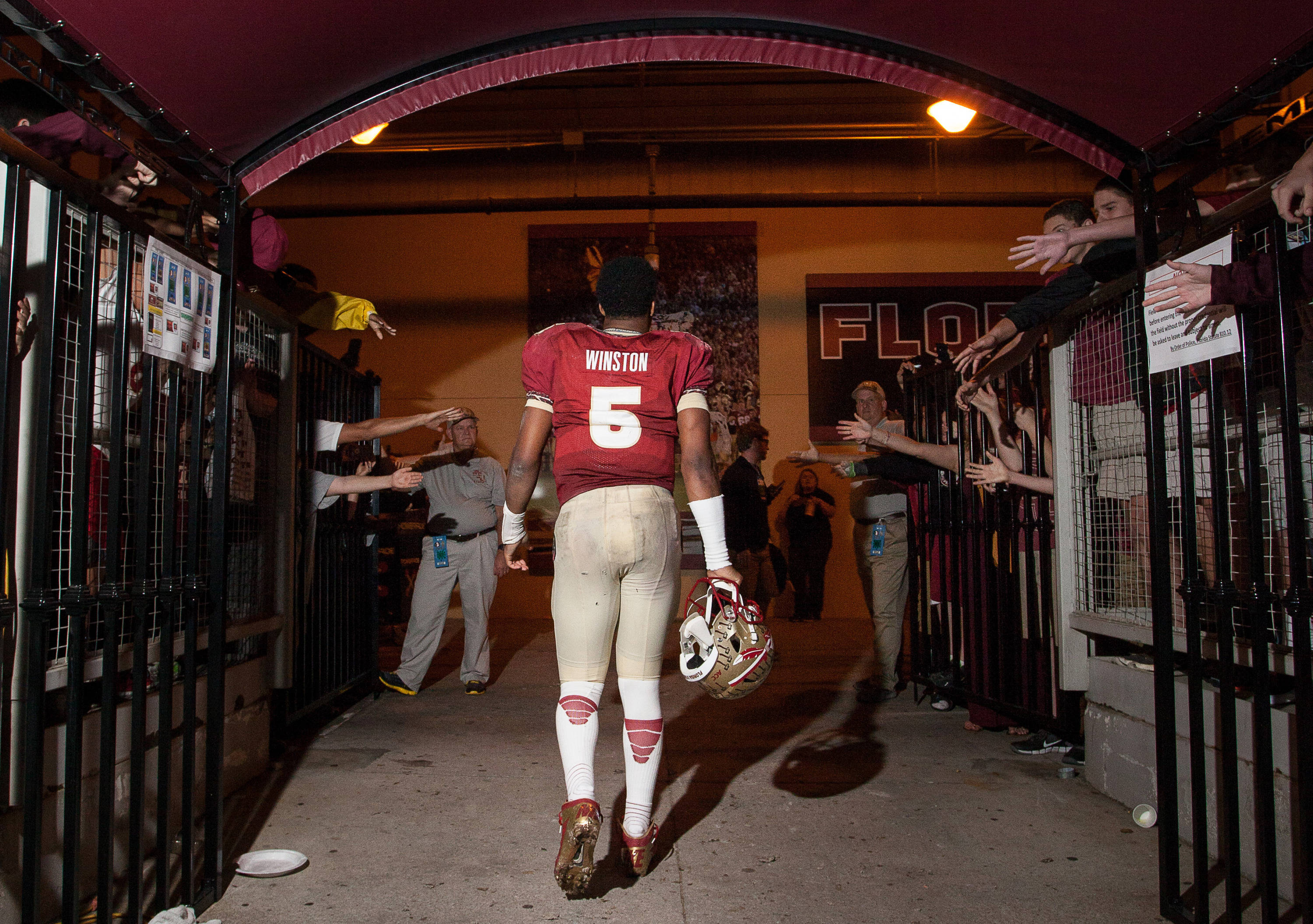 Jameis Winston (5) walks through the tunnel after FSU Football's 80-14 victory over Idaho in Tallahassee, Fla on Saturday, November 23, 2013. Photos by Mike Schwarz.