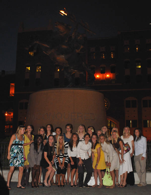 The 2007 Seminole soccer team during the Torch Lighting Ceremony.