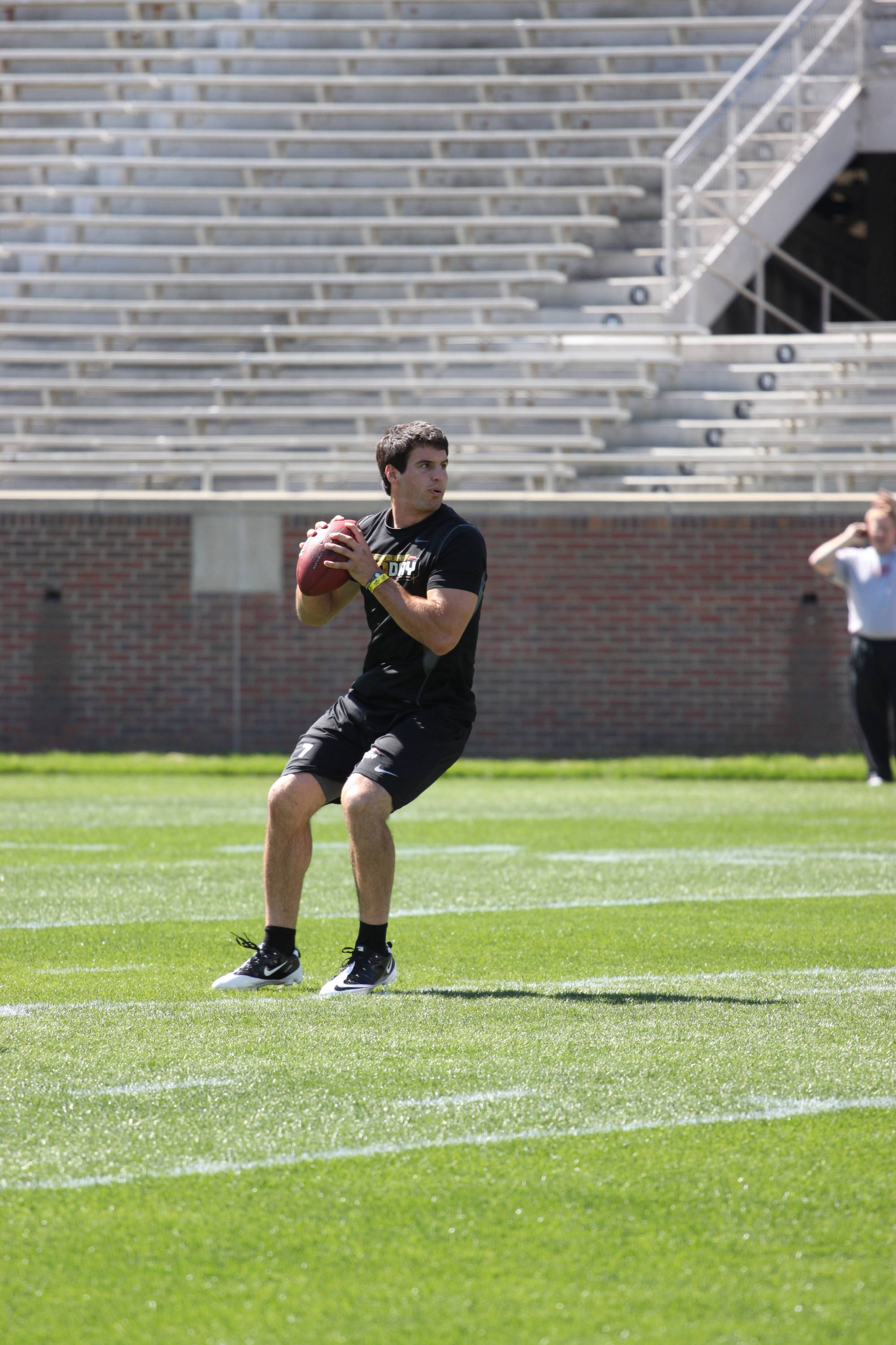 Christian Ponder drops back to pass.