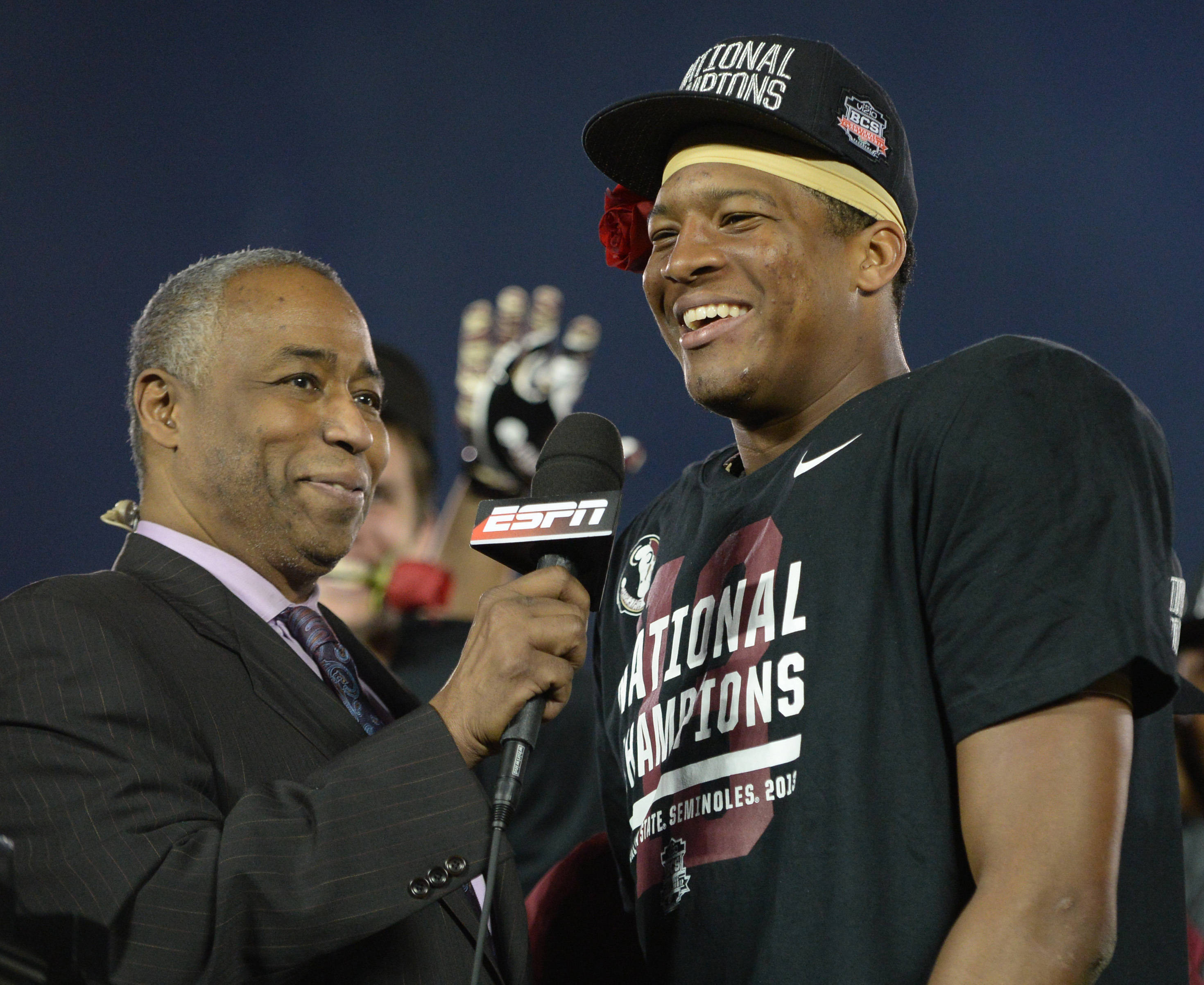 Jameis Winston and ESPN's John Saunders