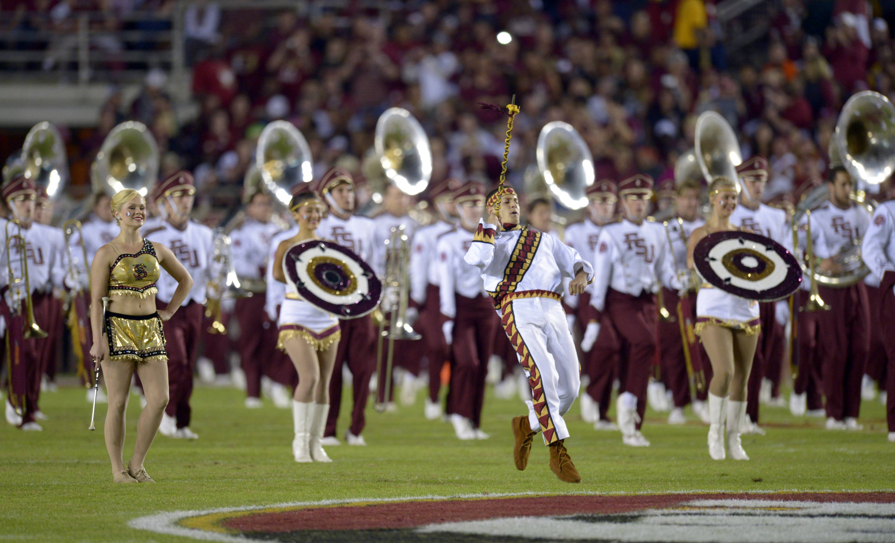Florida State Seminoles band the Marching Chiefs takes to field before the start of the game against the Miami Hurricanes at Doak Campbell Stadium. Mandatory Credit: John David Mercer-USA TODAY Sports