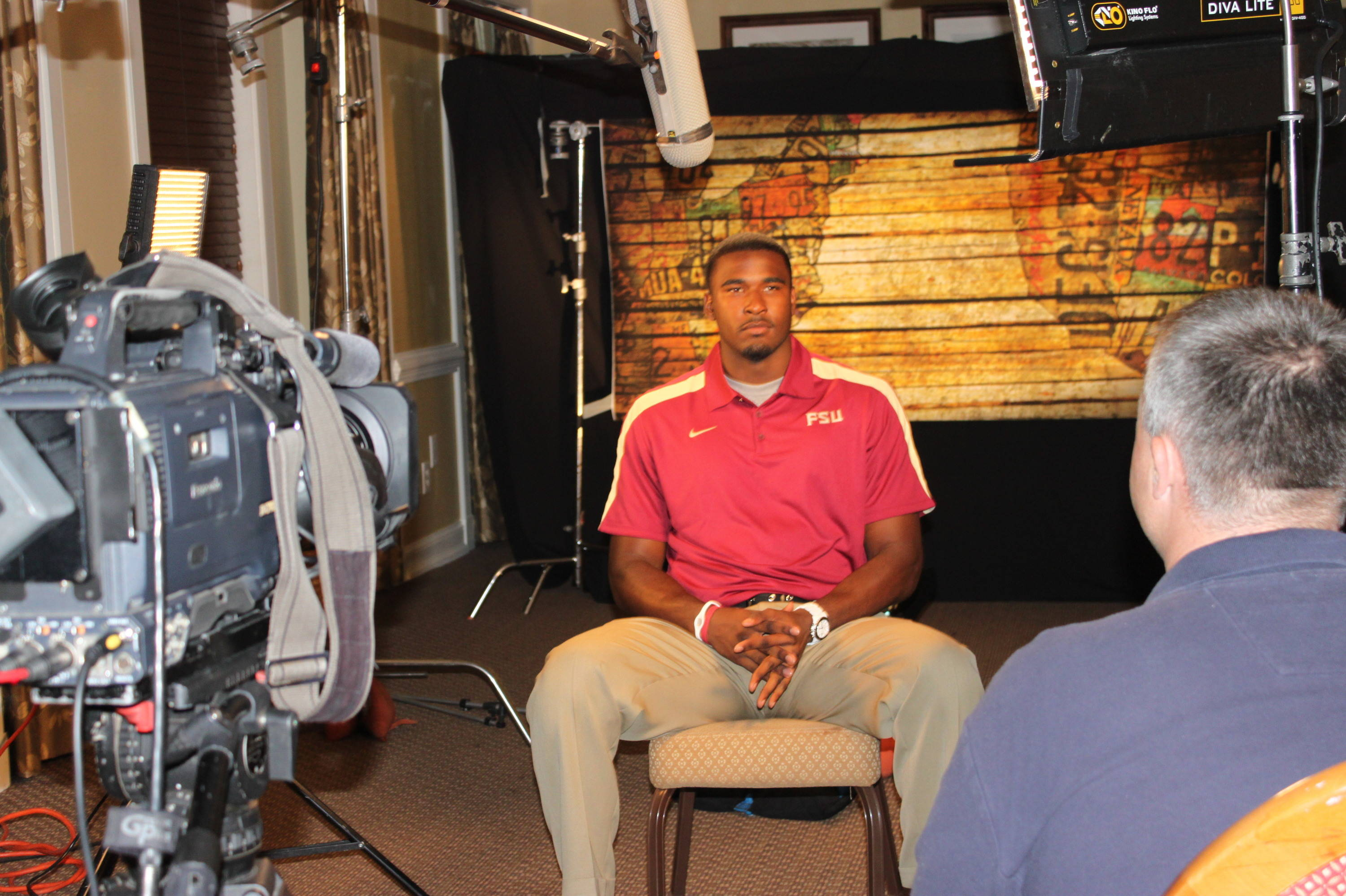 You'll see this backdrop again later this season, courtesy of ESPN's studio set-up at Pinehurst, where communication major EJ Manuel was right at home.