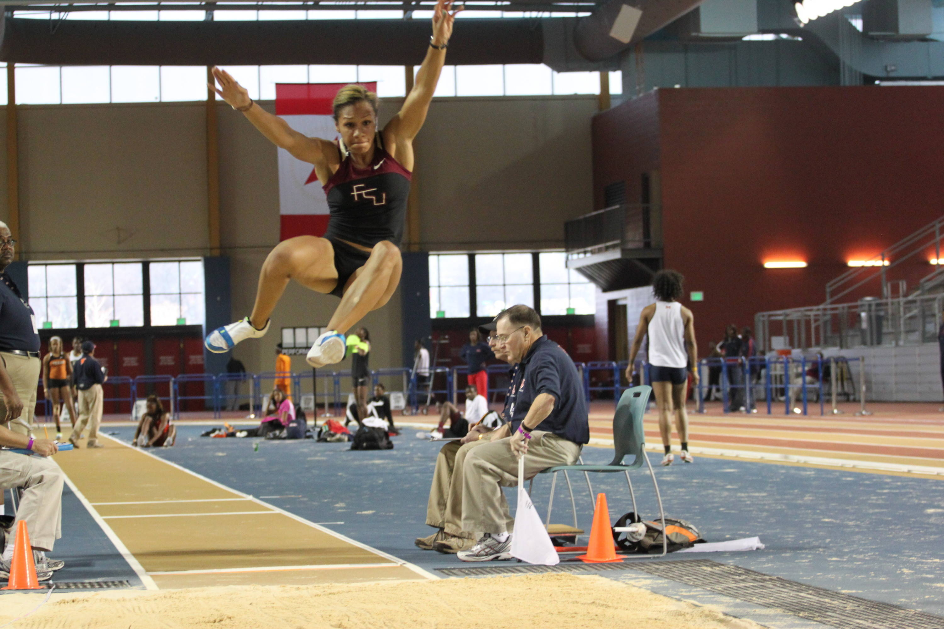 Amy Harris finished third in the long jump with a solid early-season leap of 19-10 1/2.