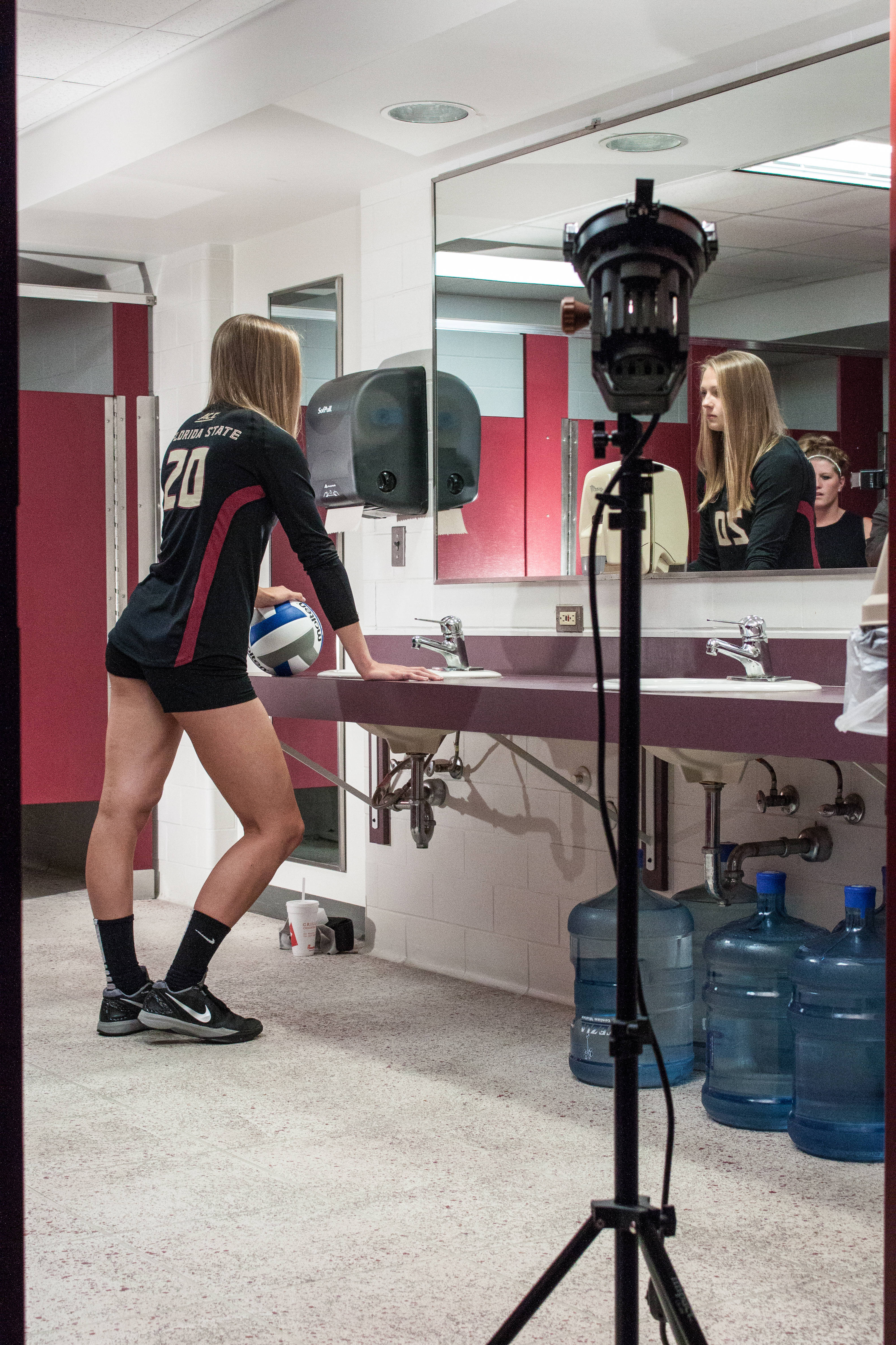 Taking a different approach, Karlie Hauer looks in the mirror.