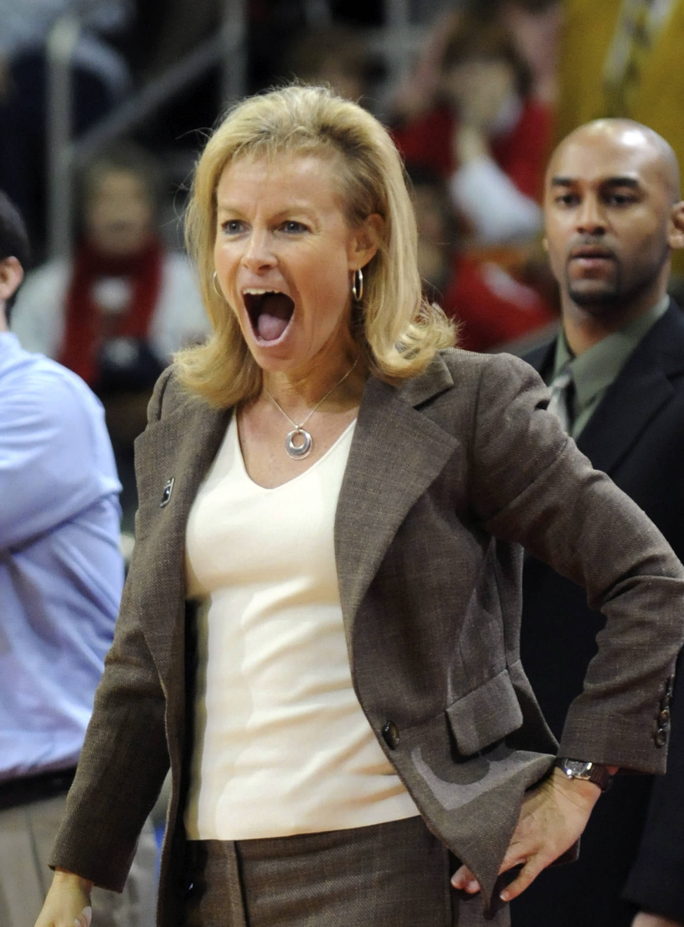 Florida State head coach Sue Semrau reacts to a foul call in overtime that ended up costing her team the game against Oklahoma State during the second round NCAA women's basketball tournament game, Monday March 24, 2008 in Des Moines, Iowa. Oklahoma State won 73-72. (AP Photo/Steve Pope)