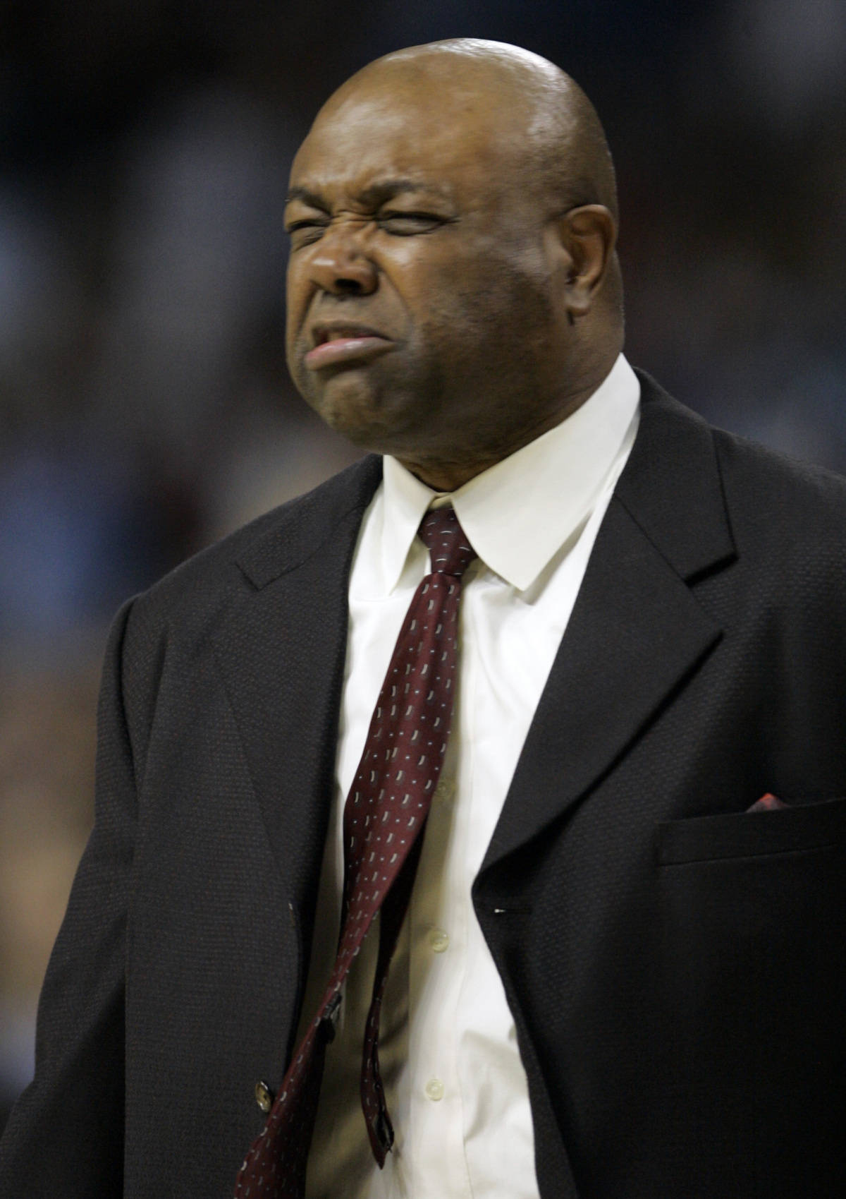 Florida State coach Leonard Hamilton reacts to a call during a second round game of the Men's Atlantic Coast Conference basketball tournament against North Carolina in Tampa, Fla., Friday, March 9, 2007. (AP Photo/David J. Phillip)
