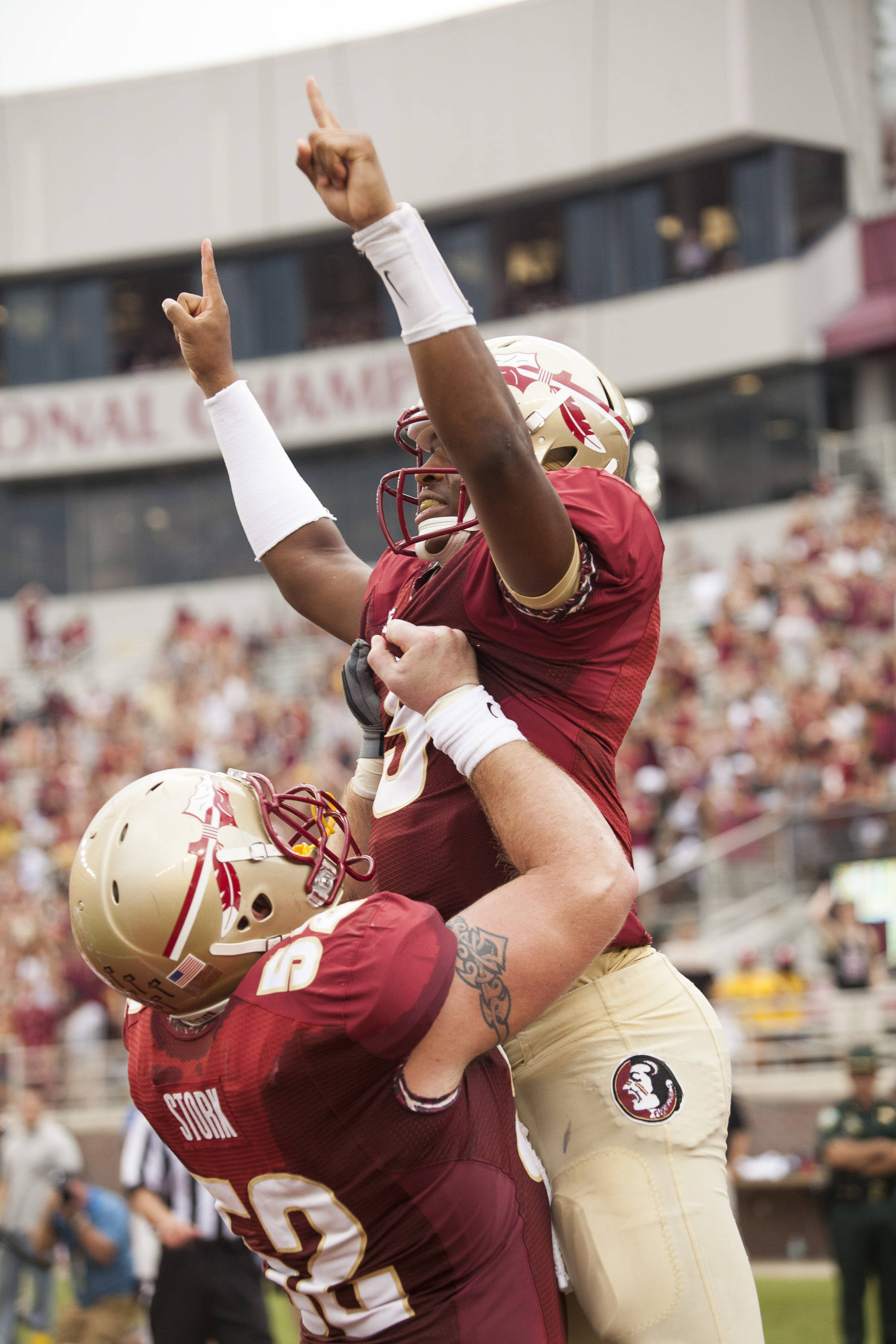 Jameis Winston (5) celebrates after scoring a touchdown during FSU's 62-7 win over Nevada on Saturday, Sept 14, 2013 in Tallahassee, Fla.