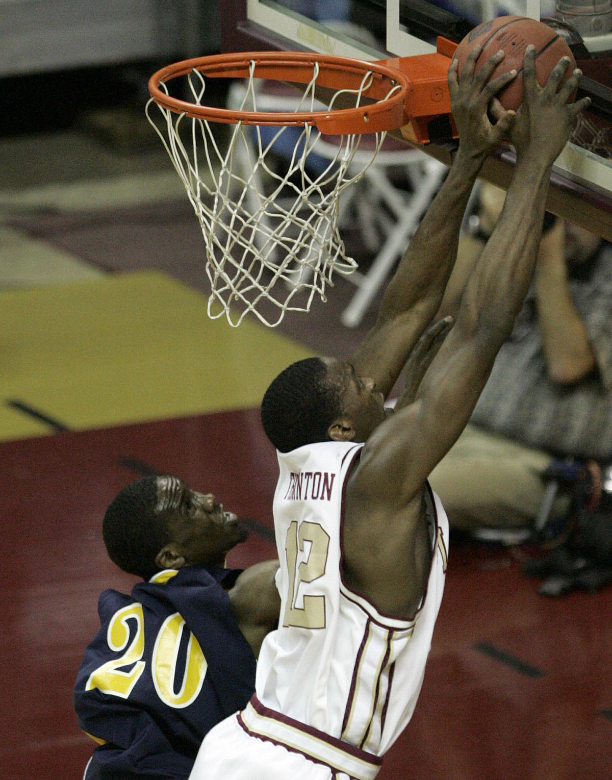 Florida State's Al Thornton, right, blocks the shot of Toledo's Justin Ingram against the backboard. (AP Photo/Steve Cannon)