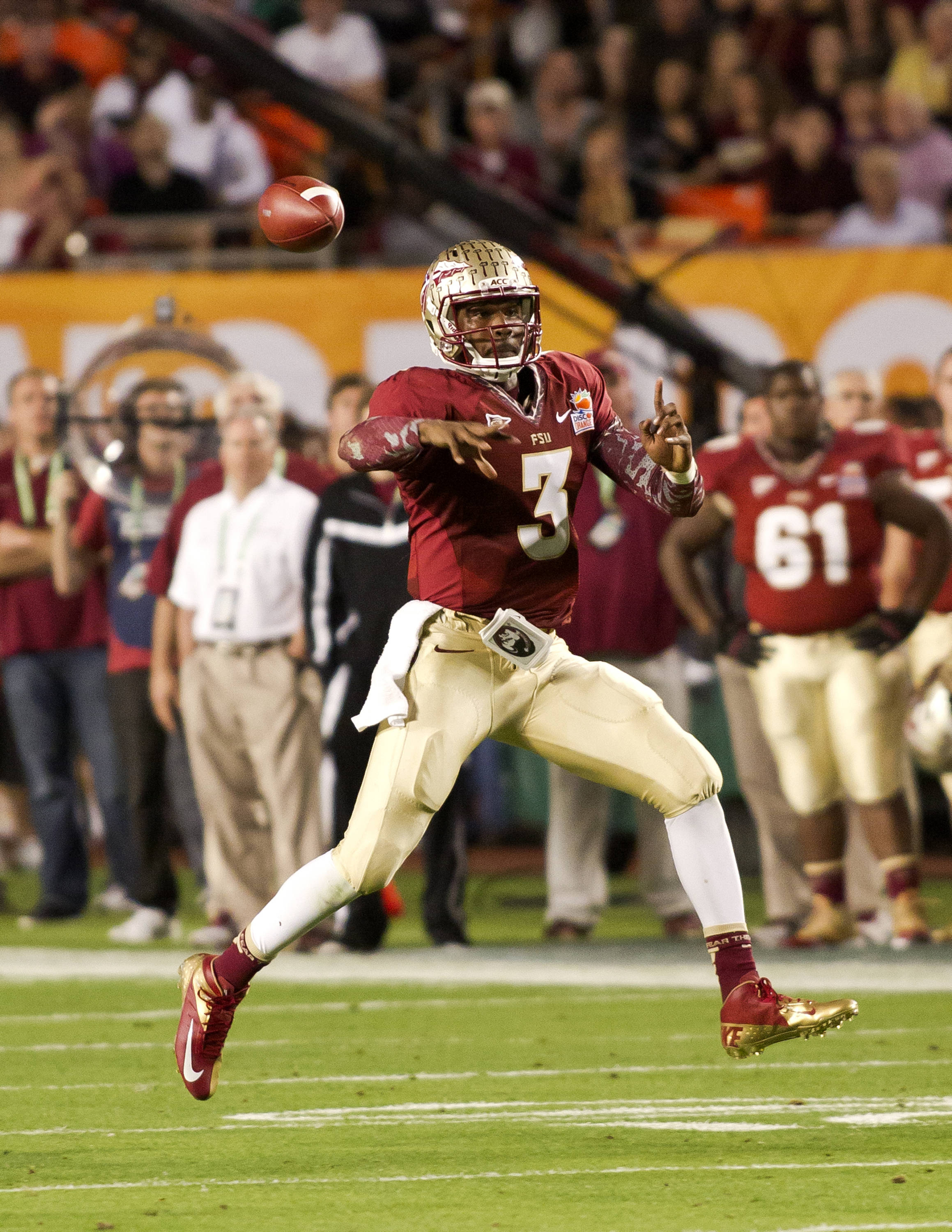 EJ Manuel (3), FSU vs No. Illinois, 01/01/13. (Photo by Steve Musco)