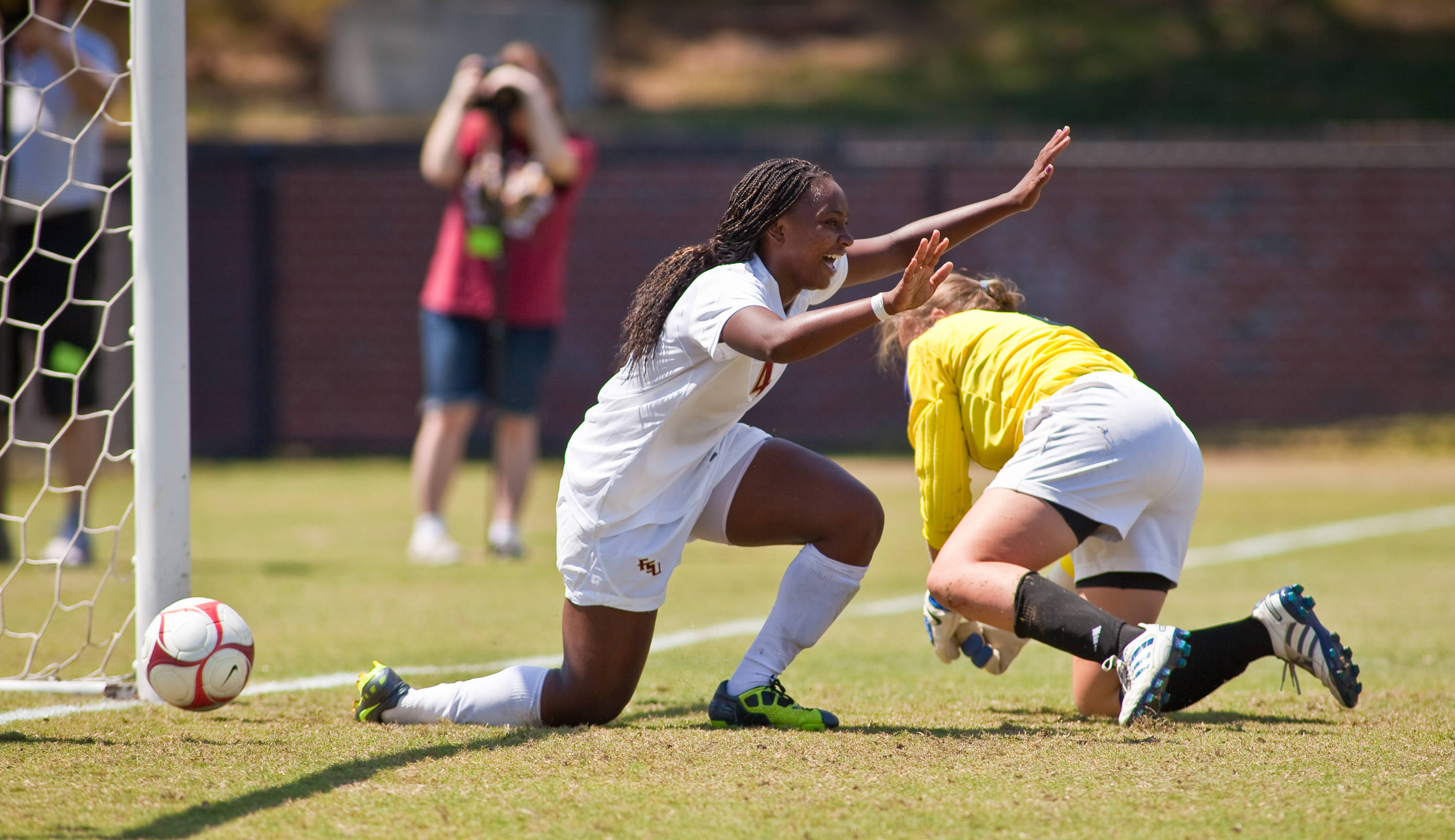 Jamia Fields finds the back of the net for the second goal of the afternoon and her second goal of the season.