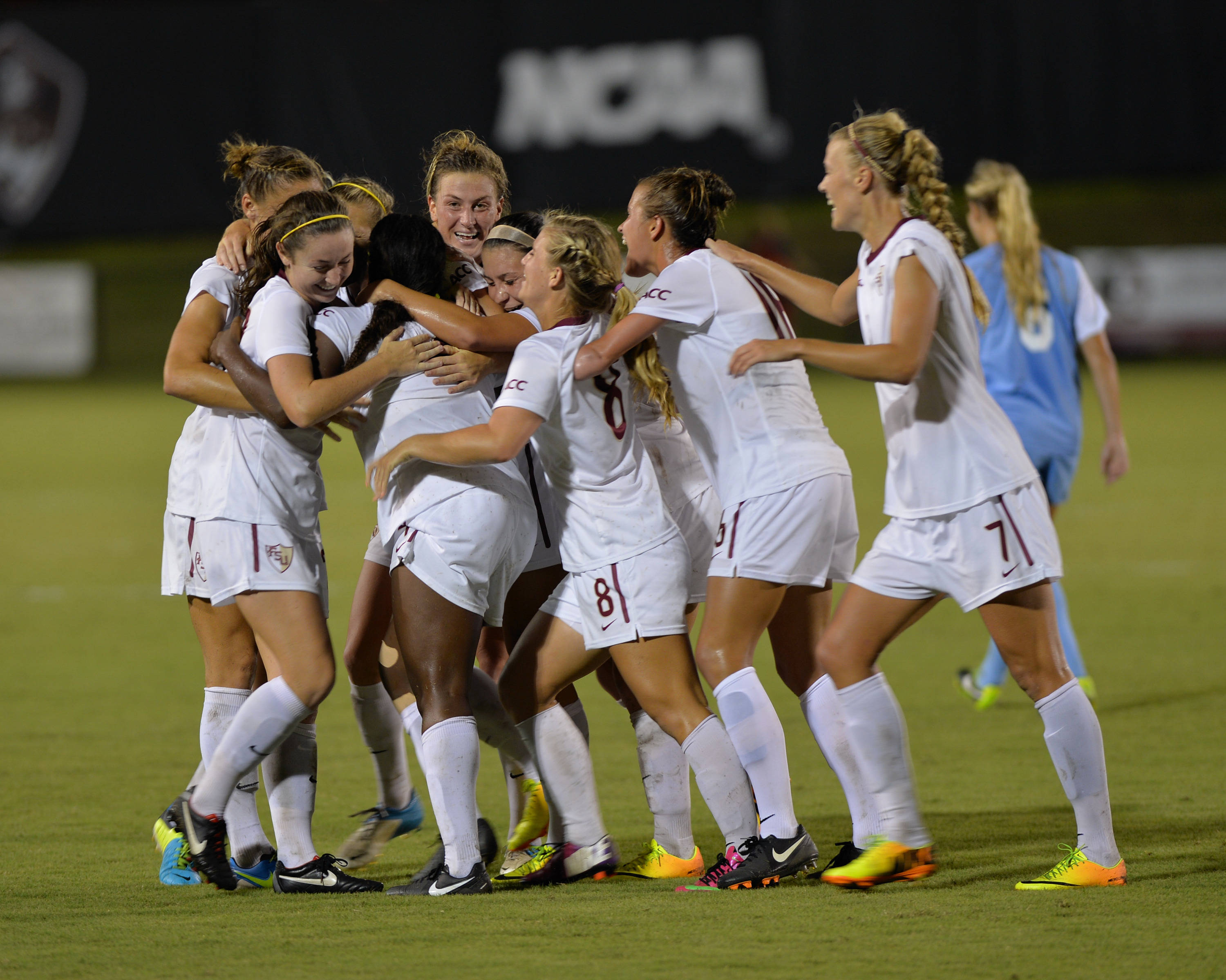 The Seminoles celebrate after Jamia Fields finds the back of the net in the 83rd minute Wednesday night.