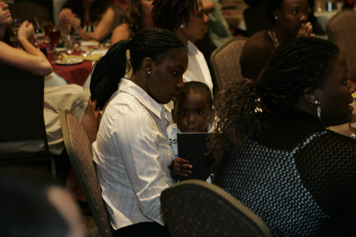 Guard Shante Williams and her son George.
