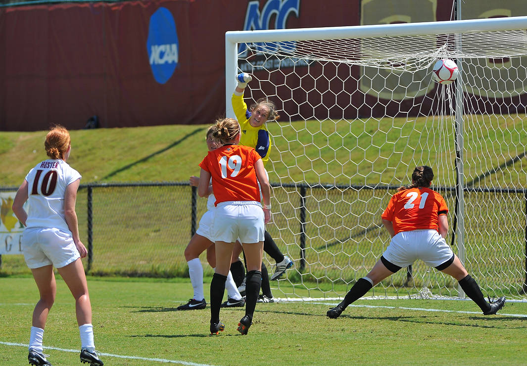 Tori Huster looks on as the ball finds the back of the net for the Seminoles in the first half.