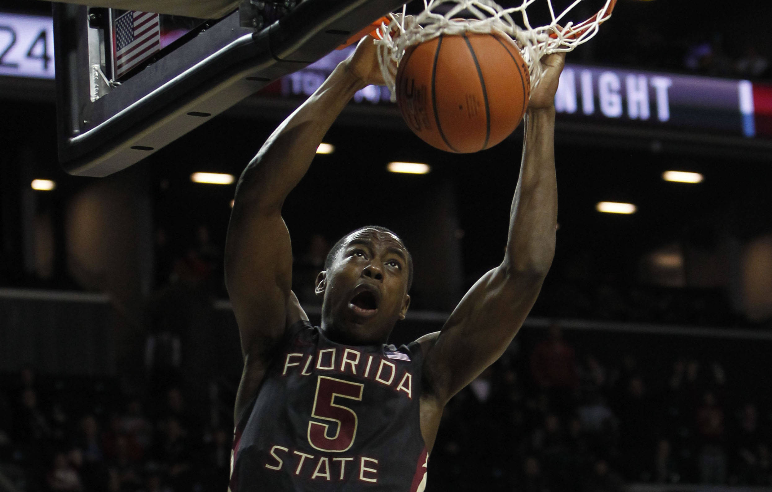 Florida State's Montay Brandon dunks the ball against Saint Joseph's during the first half. (AP Photo/Jason DeCrow)