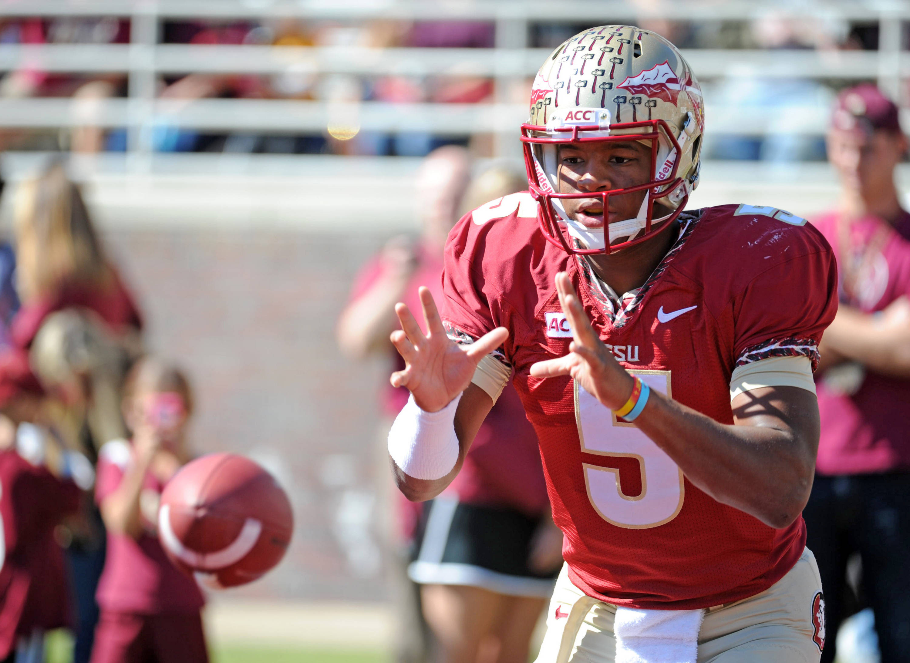 Jameis Winston (5) warms up before the start of the game. Mandatory Credit: Melina Vastola-USA TODAY Sports