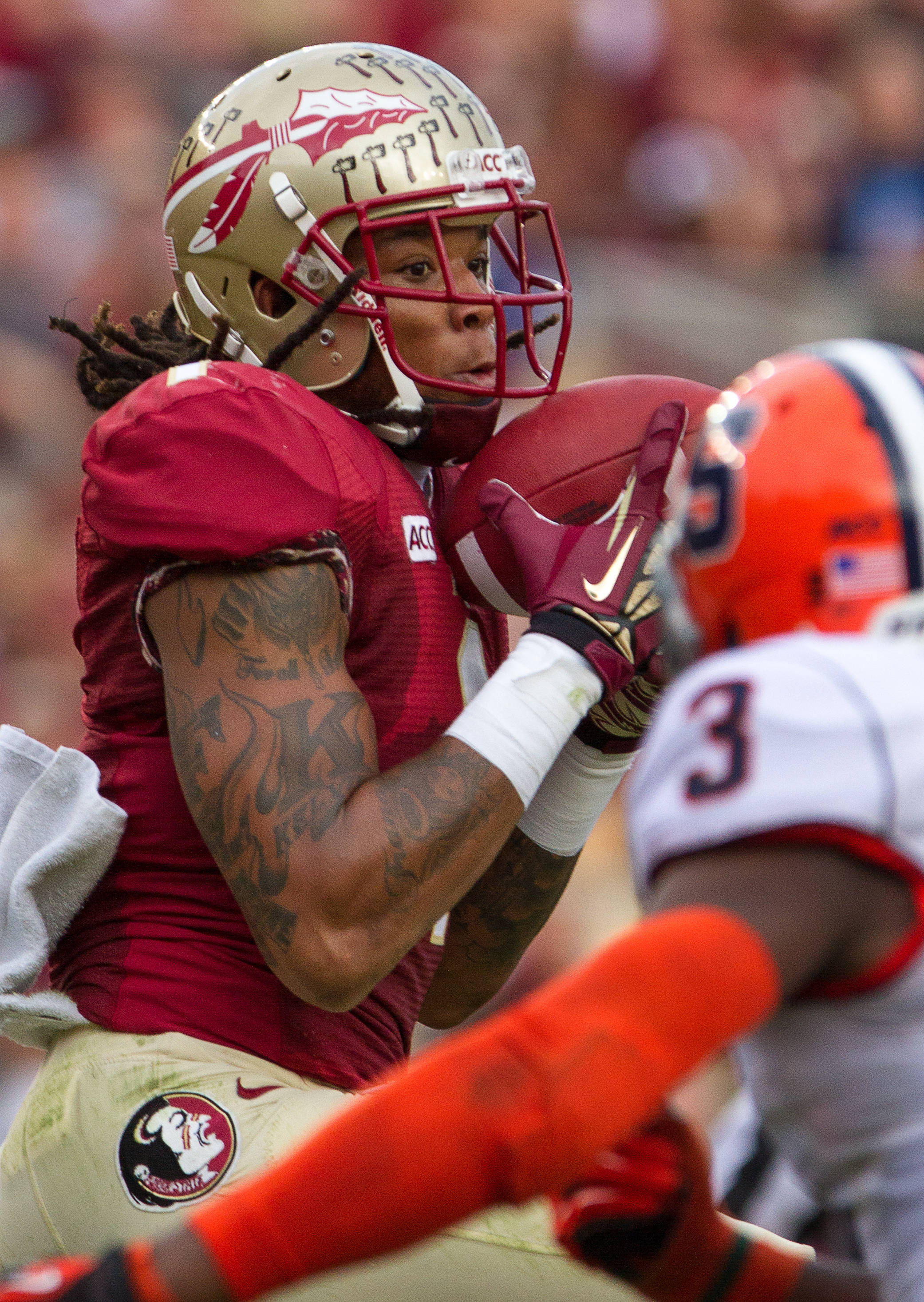 Kelvin Benjamin (1) makes a reception during FSU Football's 59-3 win over Syracuse on Saturday, November 16, 2013 in Tallahassee, Fla. Photo by Mike Schwarz.