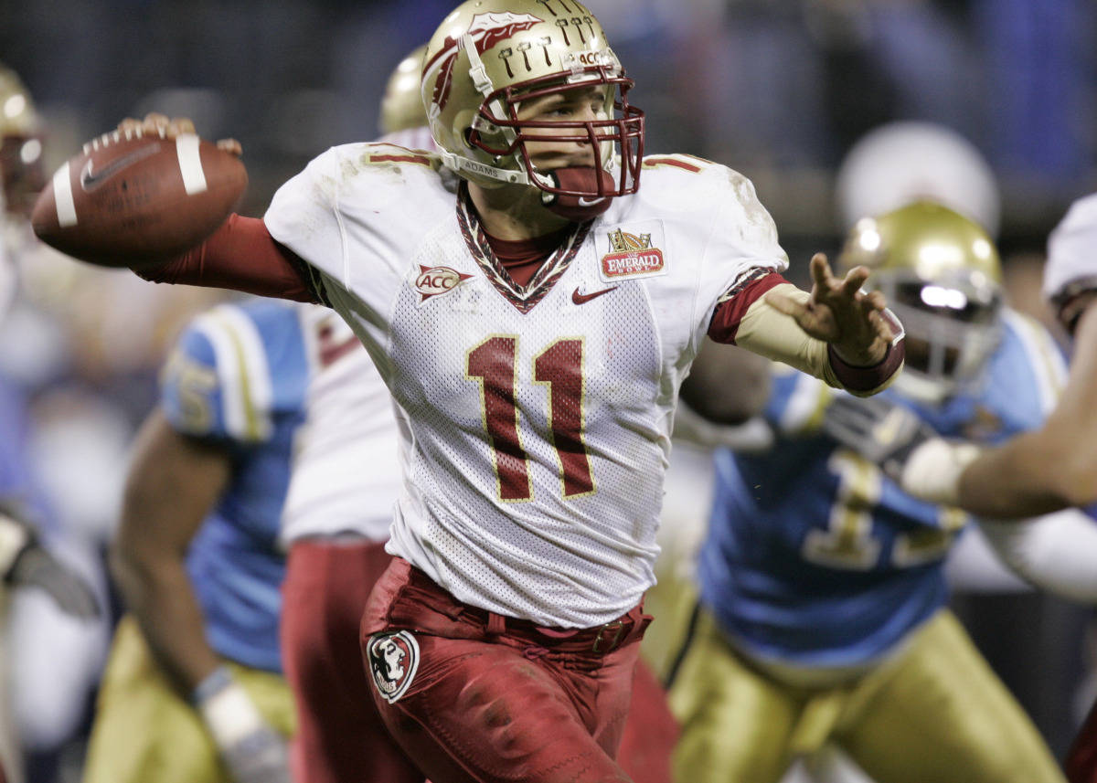 Quarterback Drew Weatherford throws downfield against UCLA during the second half of the Emerald Bowl in San Francisco, Wednesday, Dec. 27, 2006.(AP Photo/Marcio Jose Sanchez)