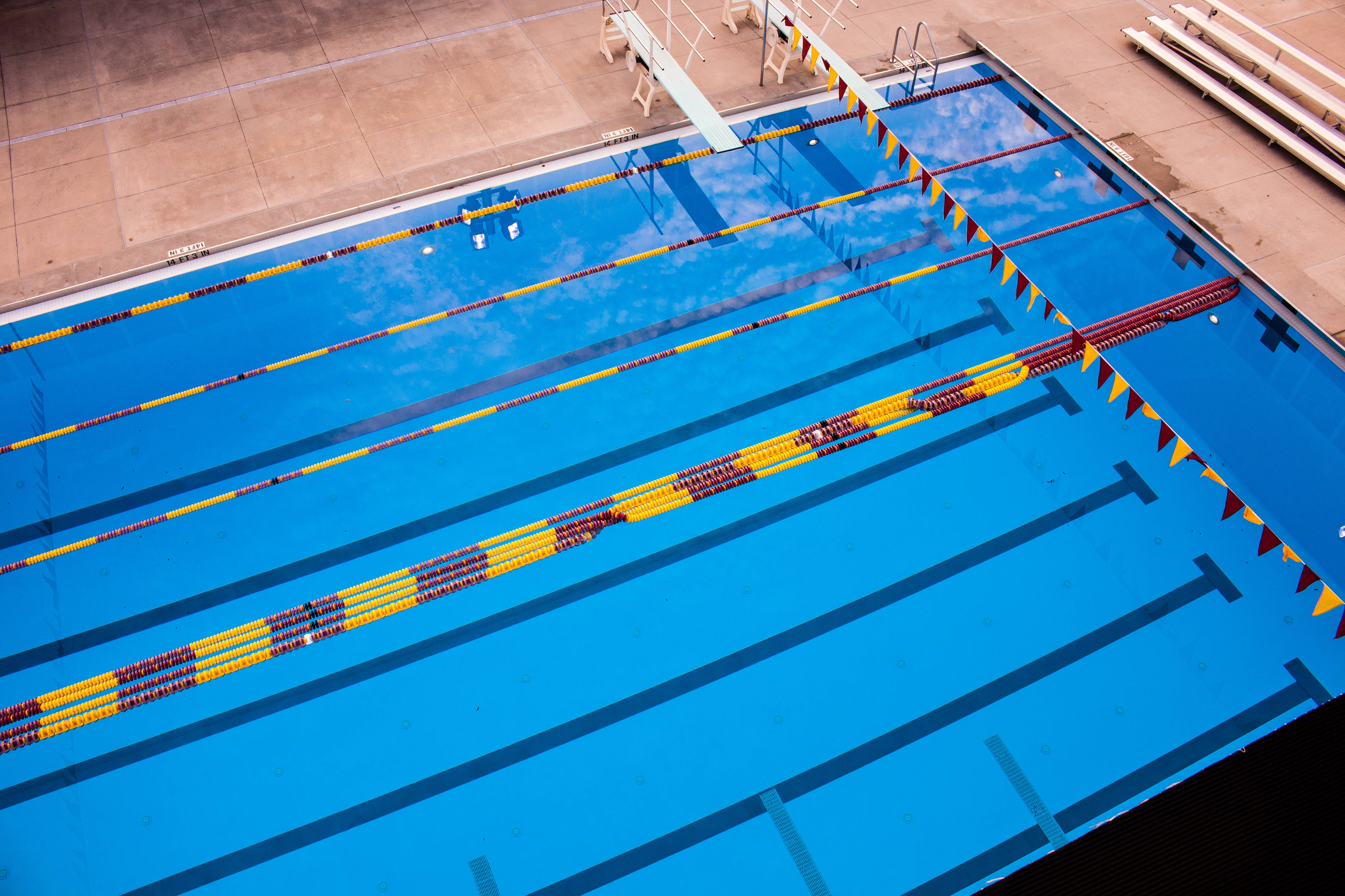The diving well is 16 feet deep and can fit eight lanes.