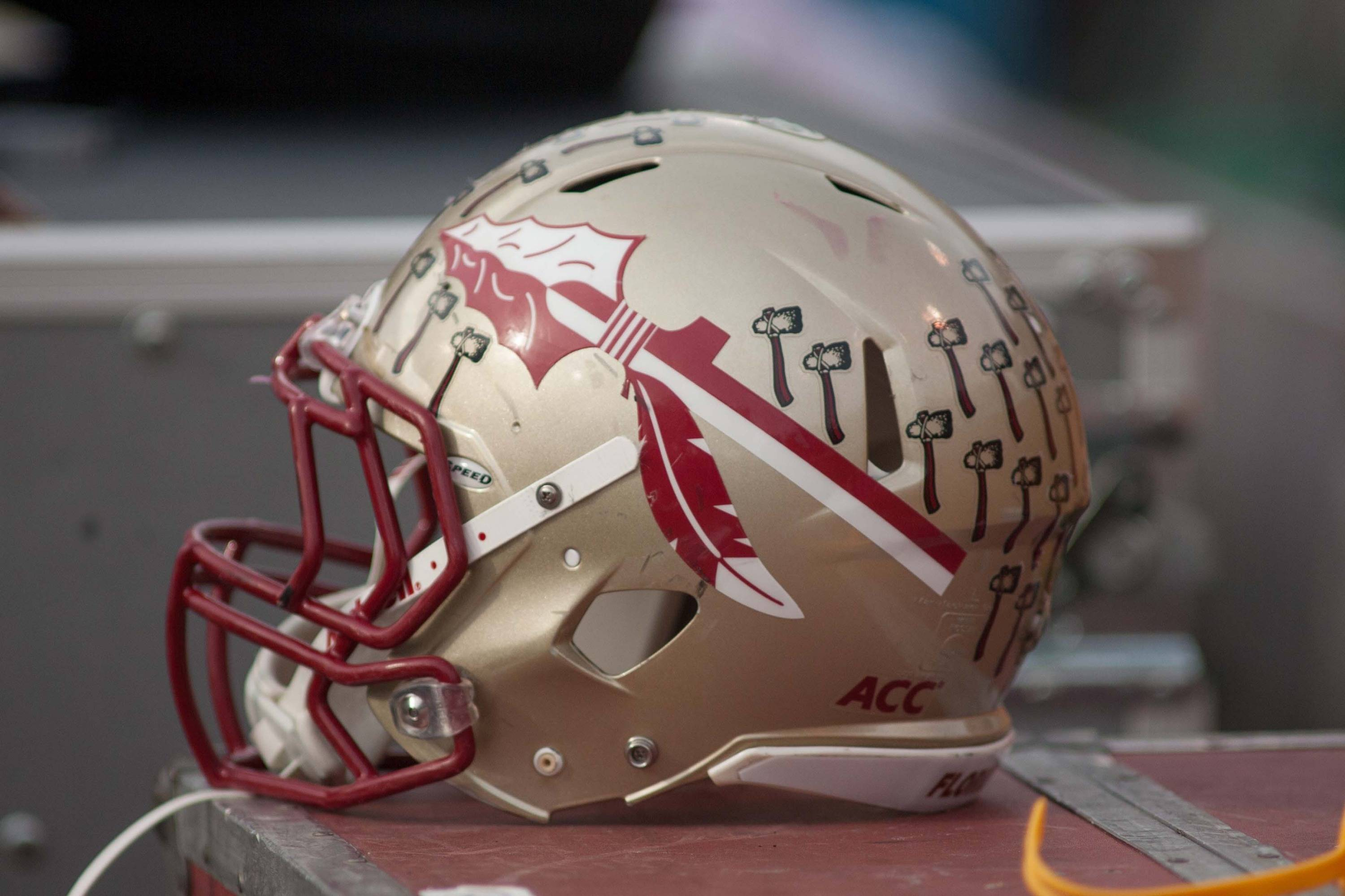 A Florida State Seminoles helmet lays on the sidelines during the game. Mandatory Credit: Jeremy Brevard-USA TODAY Sports
