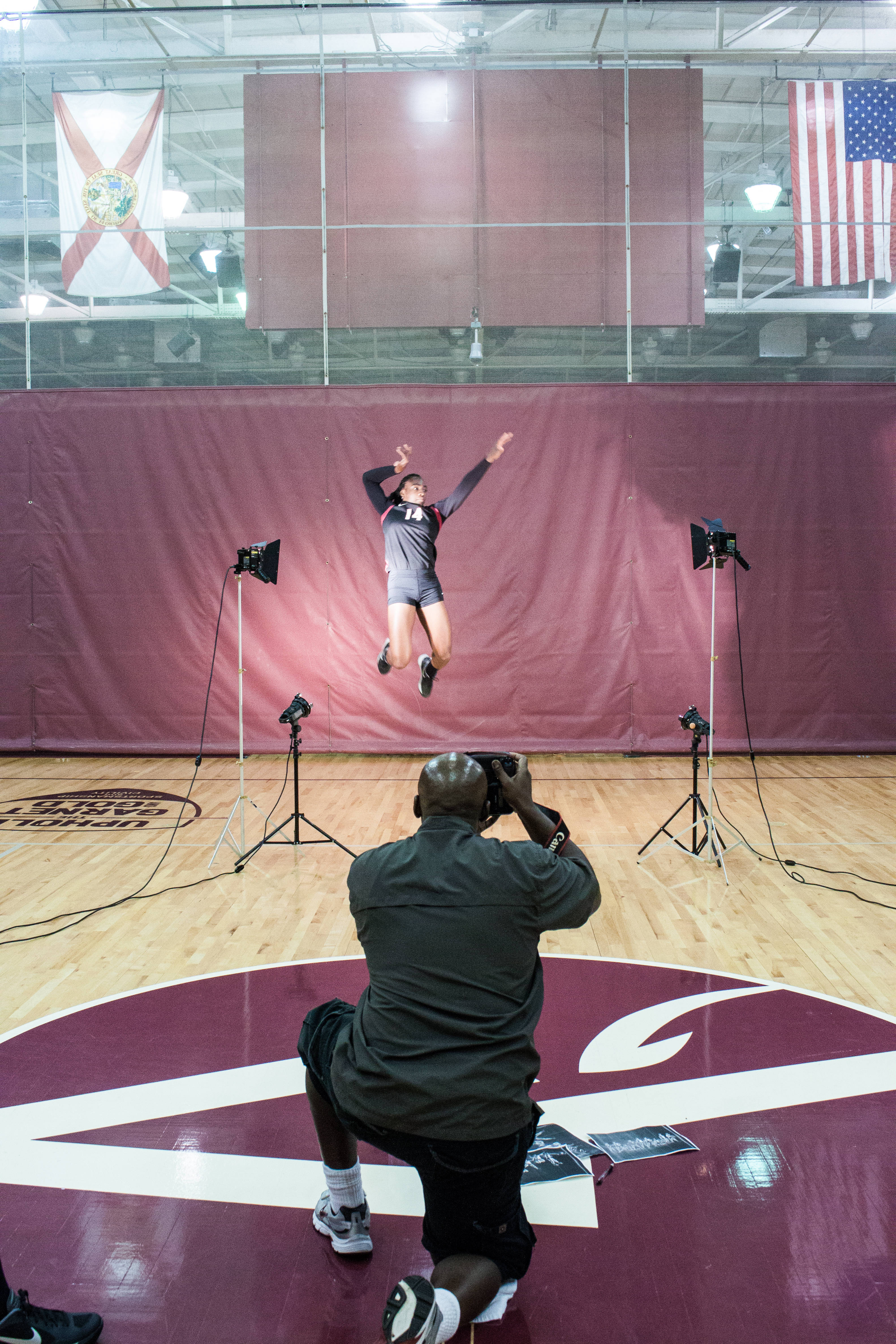 Karlie Hauer jumps for the camera.