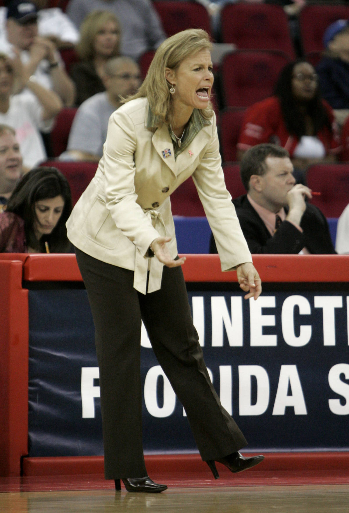 Florida State coach Sue Semrau yells out instructions to her team during the first half against Louisiana State in an NCAA women's basketball tournament regional semifinal in Fresno, Calif., Saturday, March 24, 2007. (AP Photo/Rich Pedroncelli)